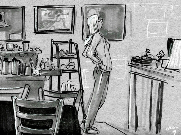 black and white drawings of a coffee shop, featuring patrons drinking coffee and analyzing the menu at the check-out counter