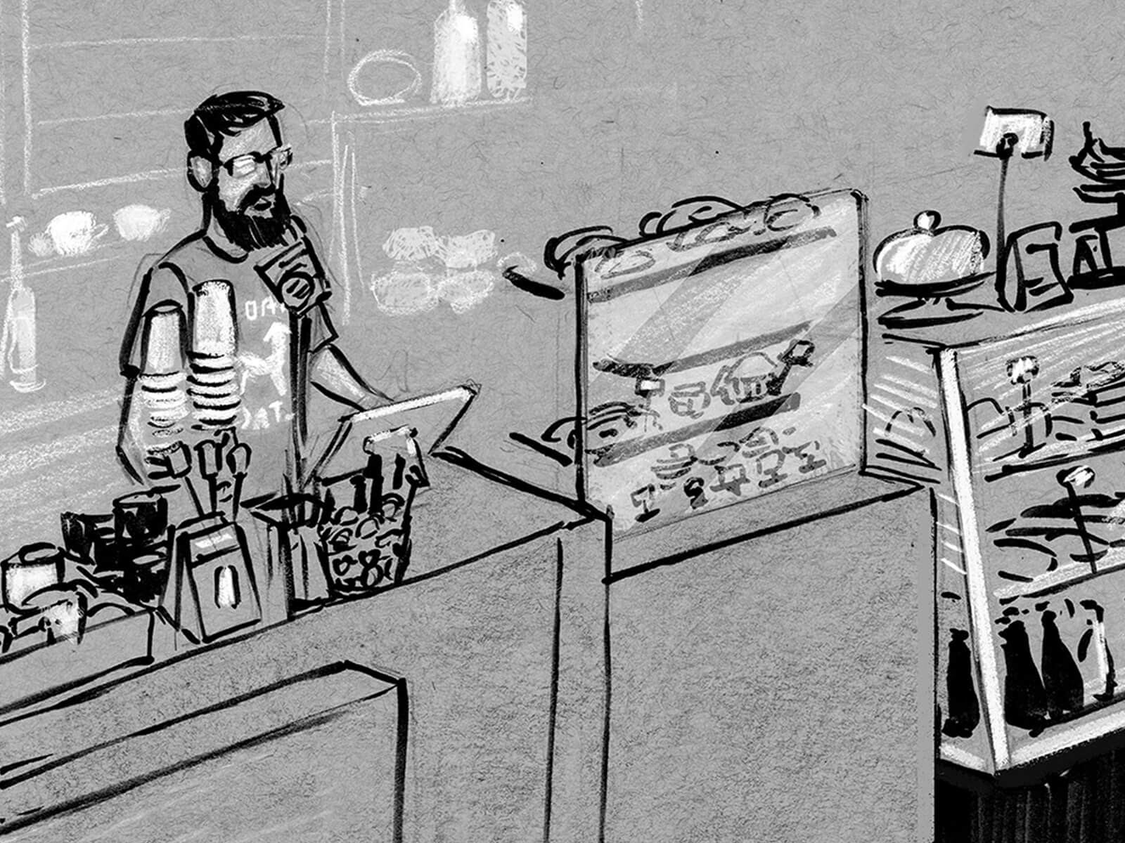 black and white drawings of a coffee shop, featuring baristas making coffee and operating the cash register