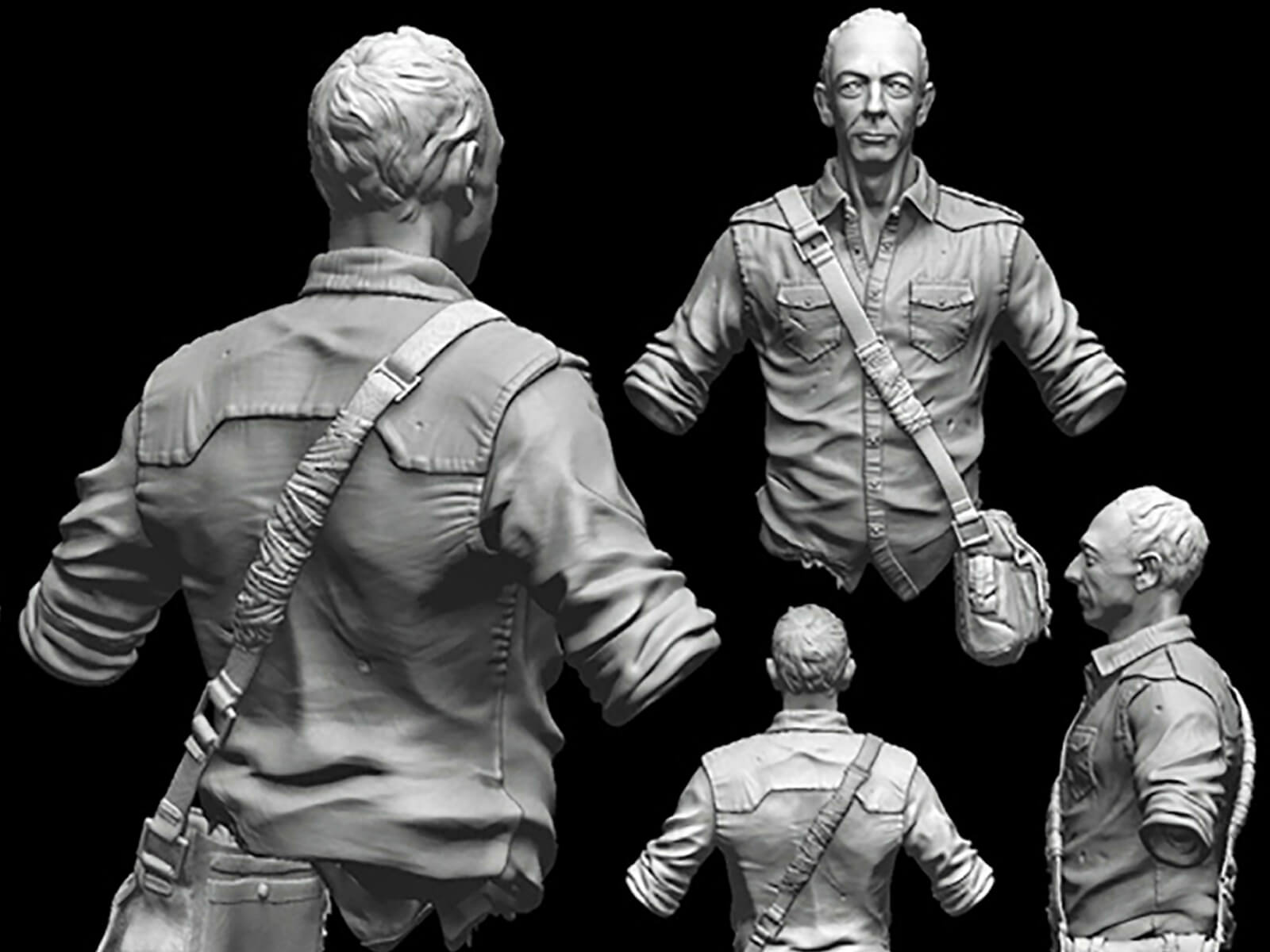 computer-generated 3d models of an older man in a safari shirt with a small messenger bag slung across his chest