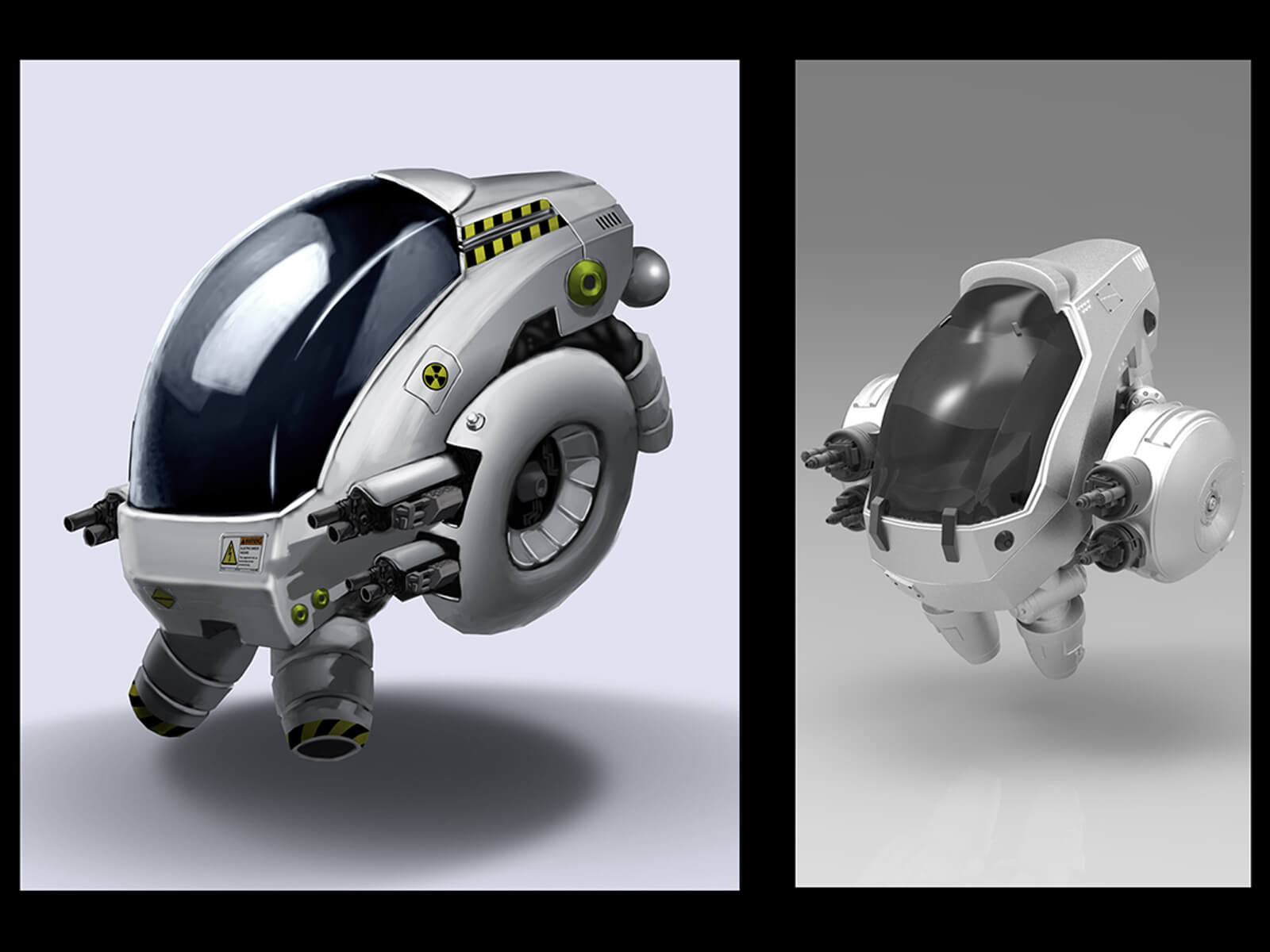 computer-generated 3D model of a robot vehicle that is reminiscent of a turtle