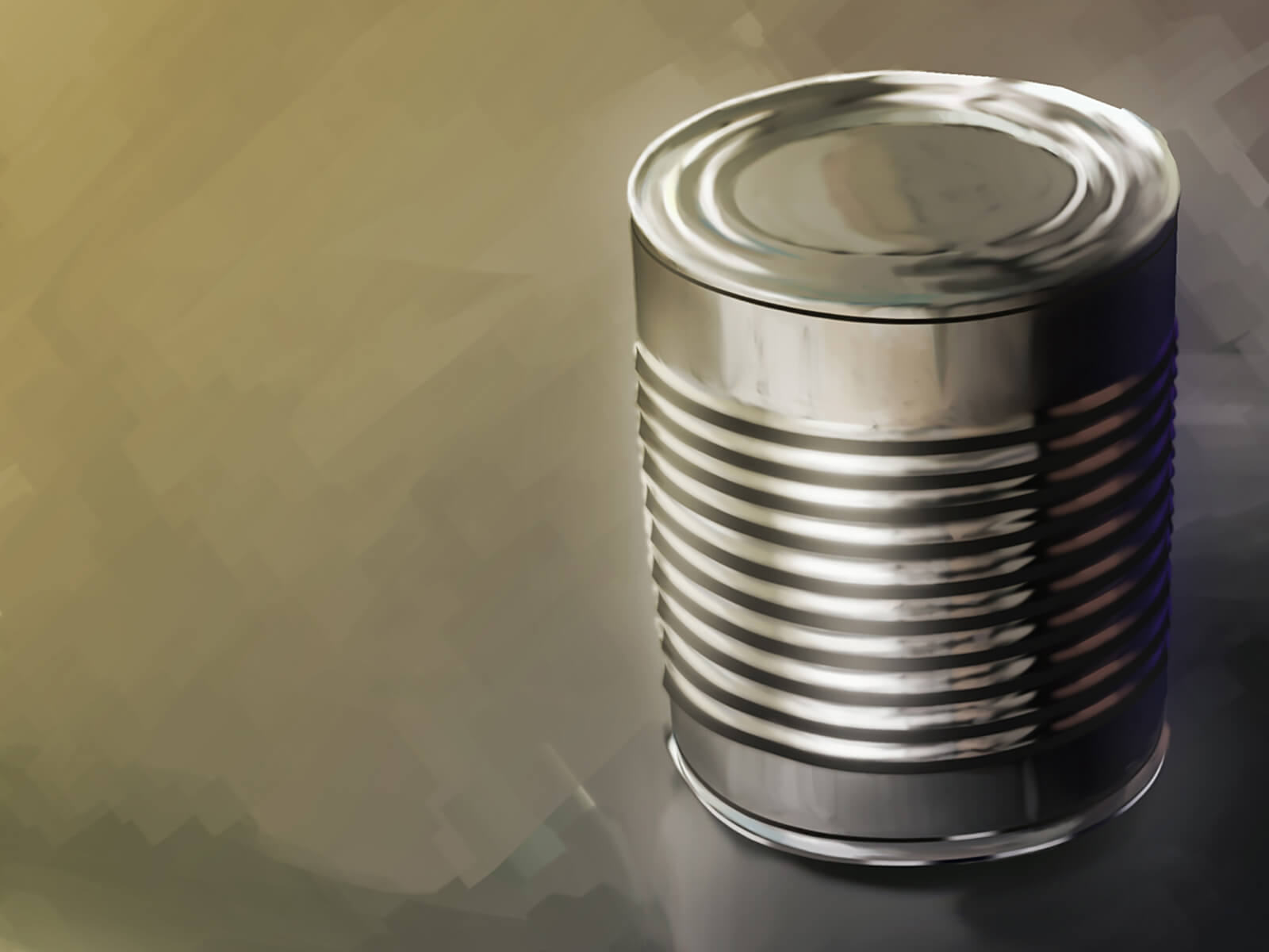 still-life traditional painting of an unlabeled tin can