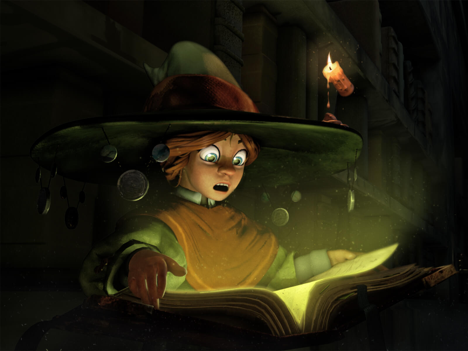 computer-generated 3D model of a character with huge green eyes reacting with shock at the book in front of them