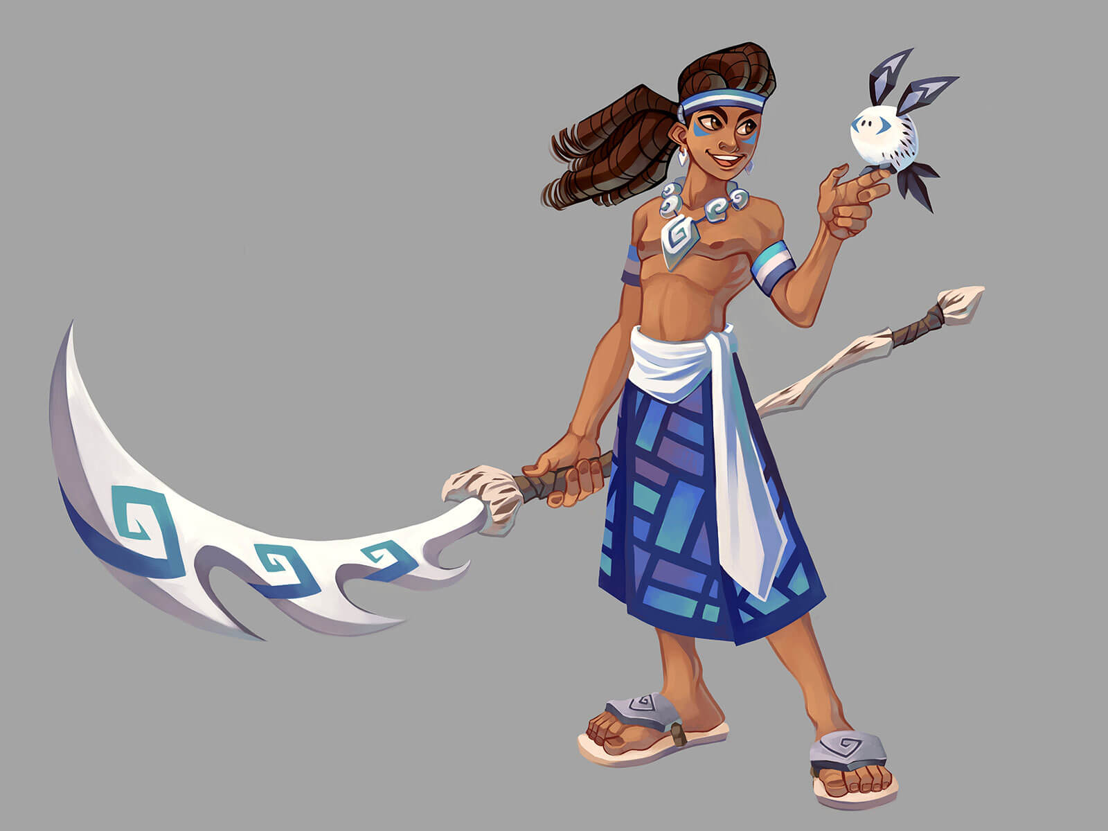 Man with spear in stylized Pacific Islander dress