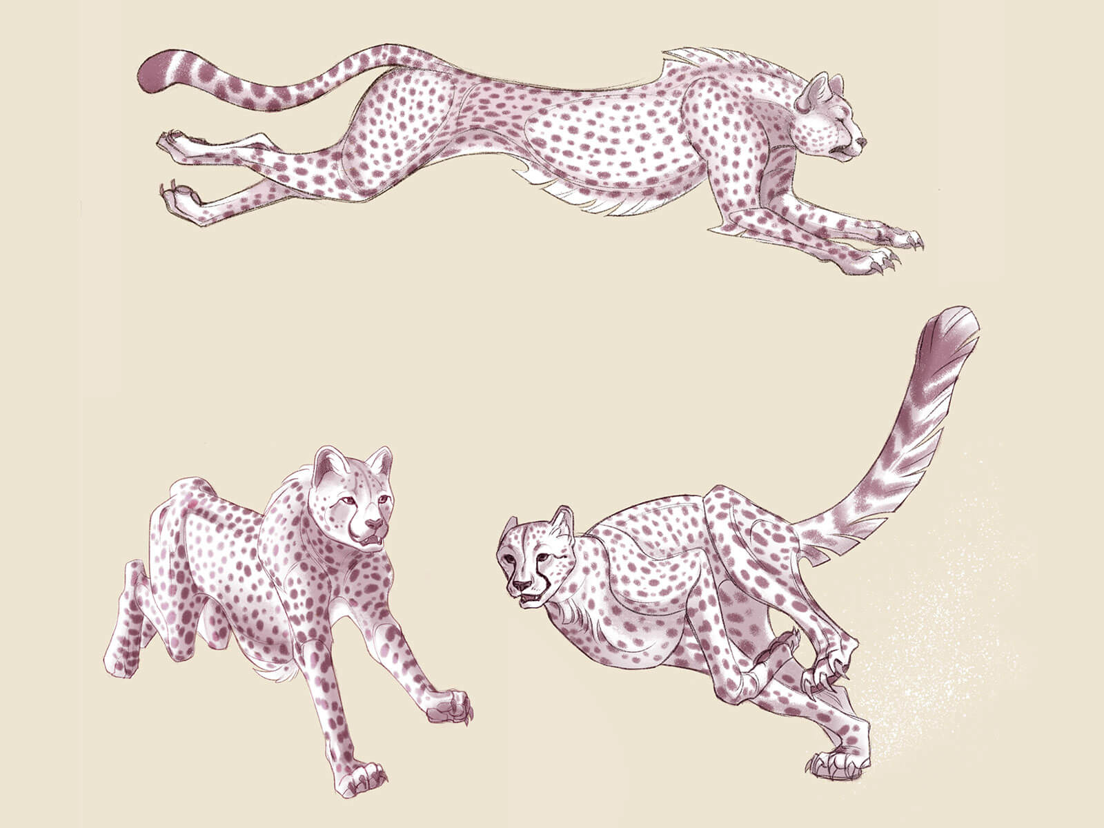 Three different angles of a sepia-toned, cheetah-like quadruped in mid-sprint.