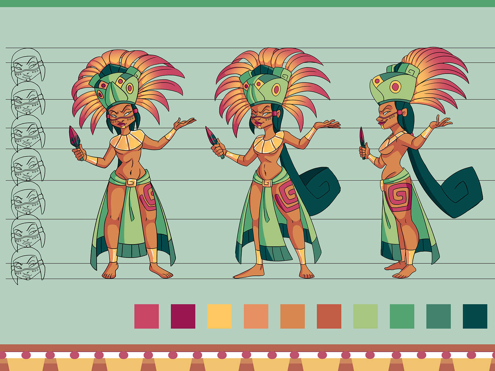 Turnaround views of a woman in ancient Mesoamerican garb holding a bloody dagger and wearing a feathered headdress.
