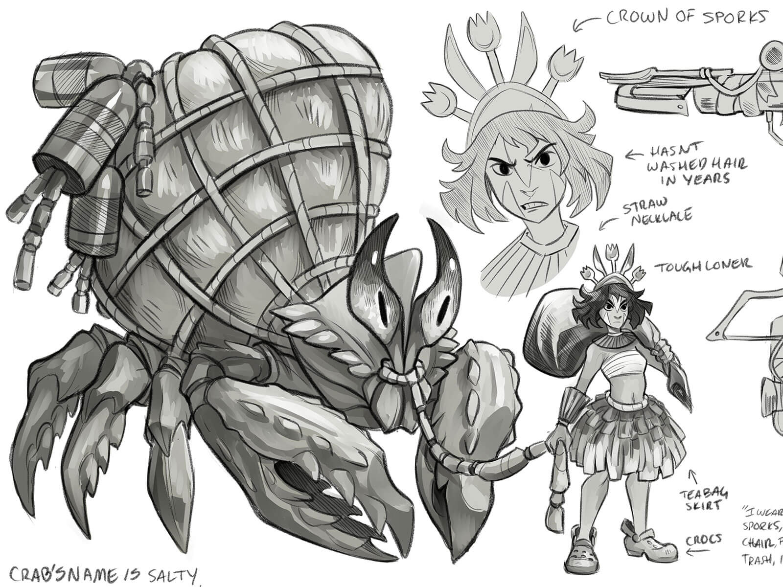 Sketches of a giant, captured hermit crab