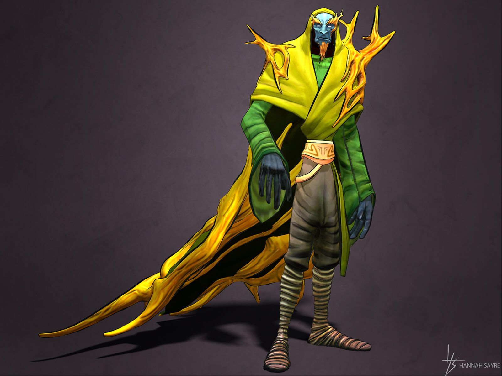 "computer-generated 3D model of ""death,"" one of the 4 horsemen of the apocalypse, in a flowing yellow robe"