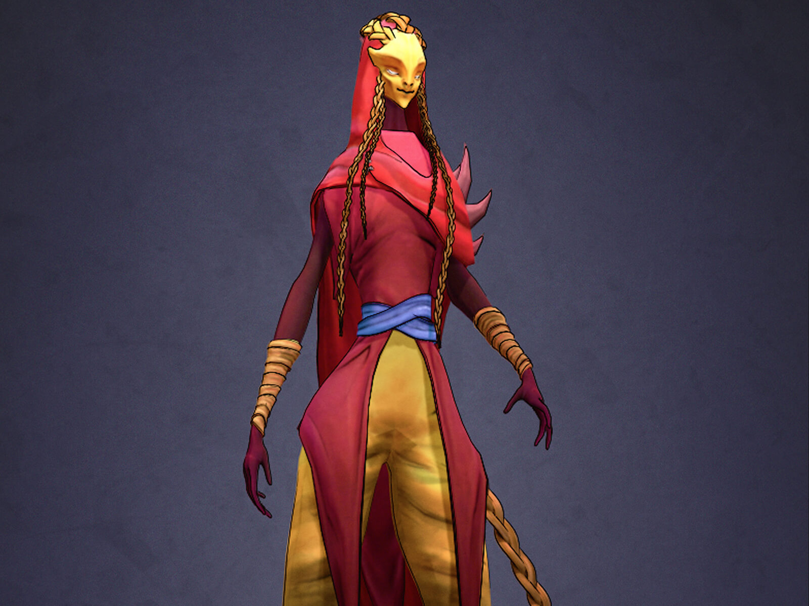 "computer-generated 3D model of ""war,"" one of the 4 horsemen of the apocalypse, a tall figure in shades of red and yellow"