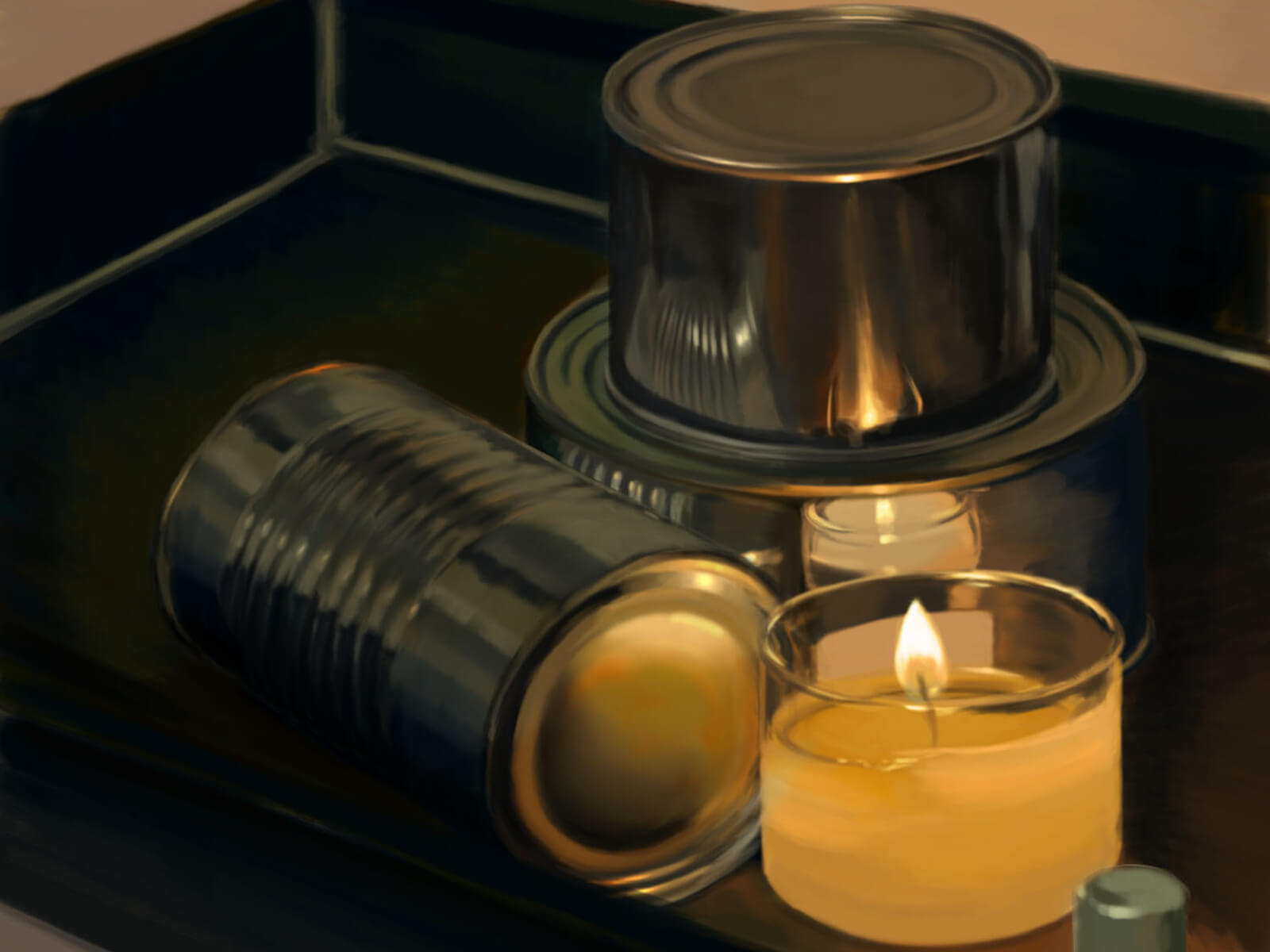 still-life traditional painting of 3 unlabeled aluminum cans and a lit candle