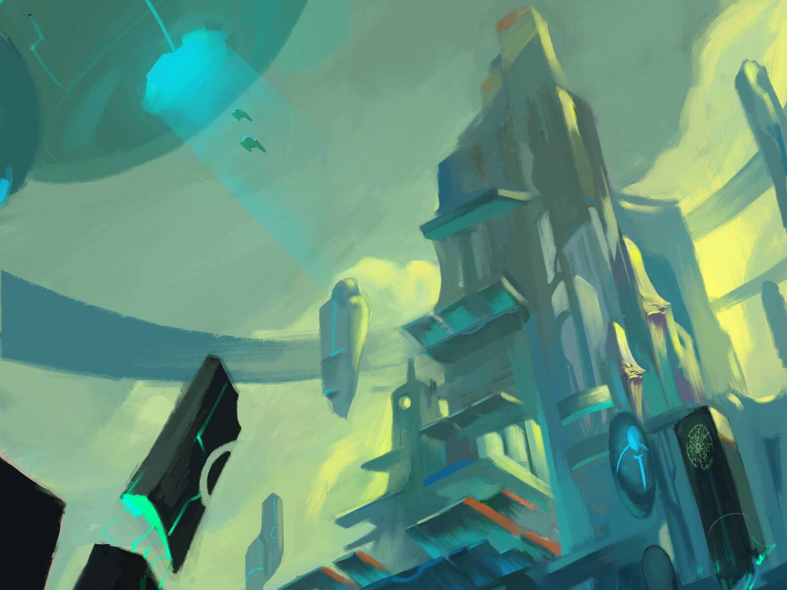 digital painting of a futuristic cityscape where airships fly among the buildings