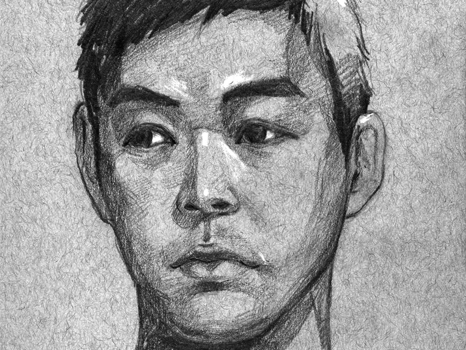 black and white drawing of a young asian man