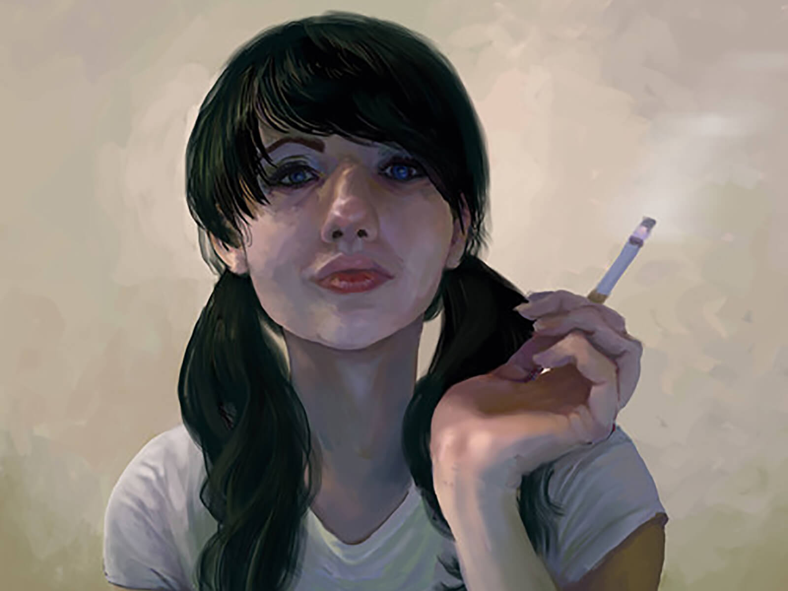 traditional painting portrait of a young woman in pigtails smoking a cigarette