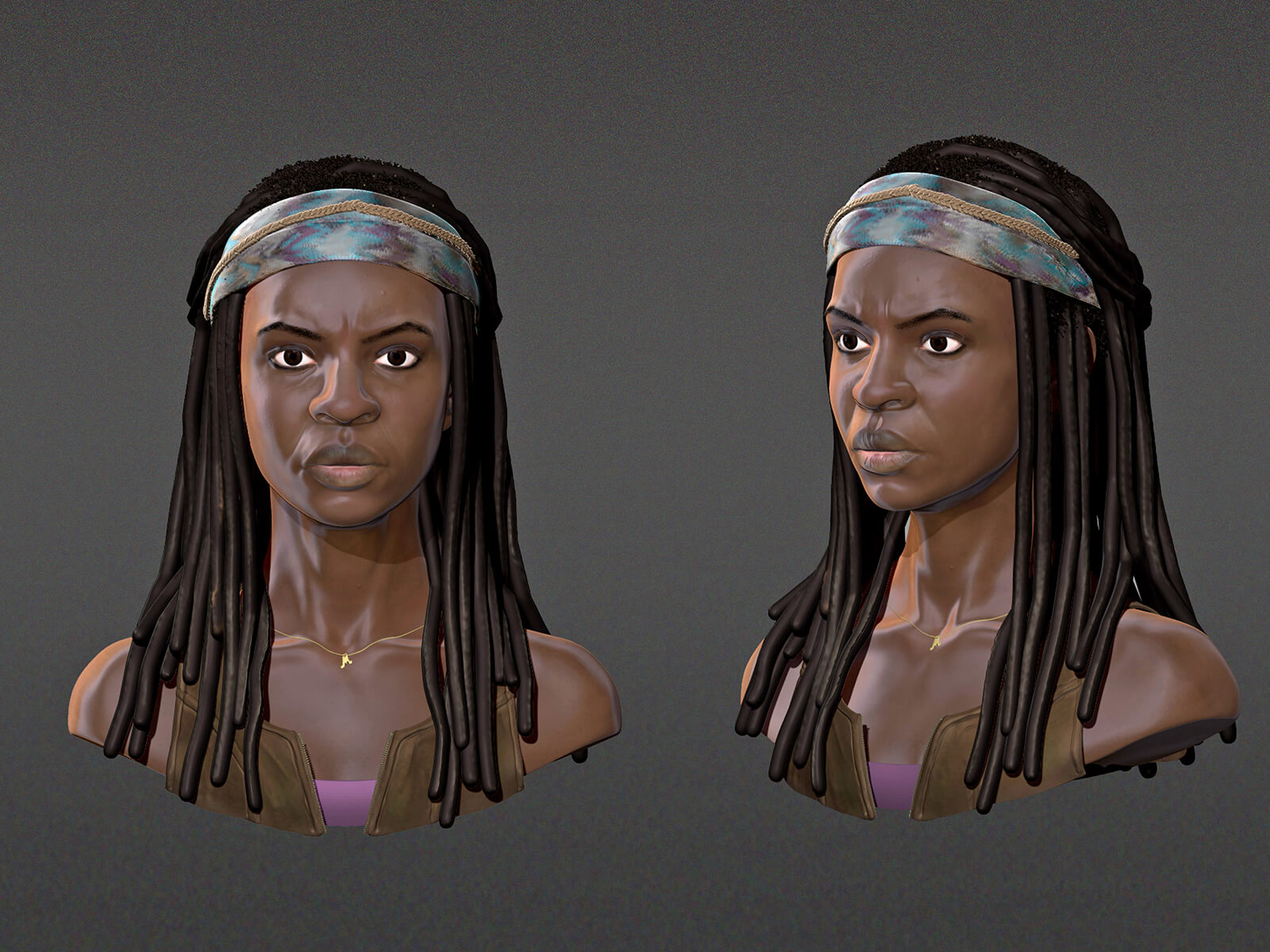 computer-generated 3D model of a fierce-looking black woman with 2 views - head-on and partial profile