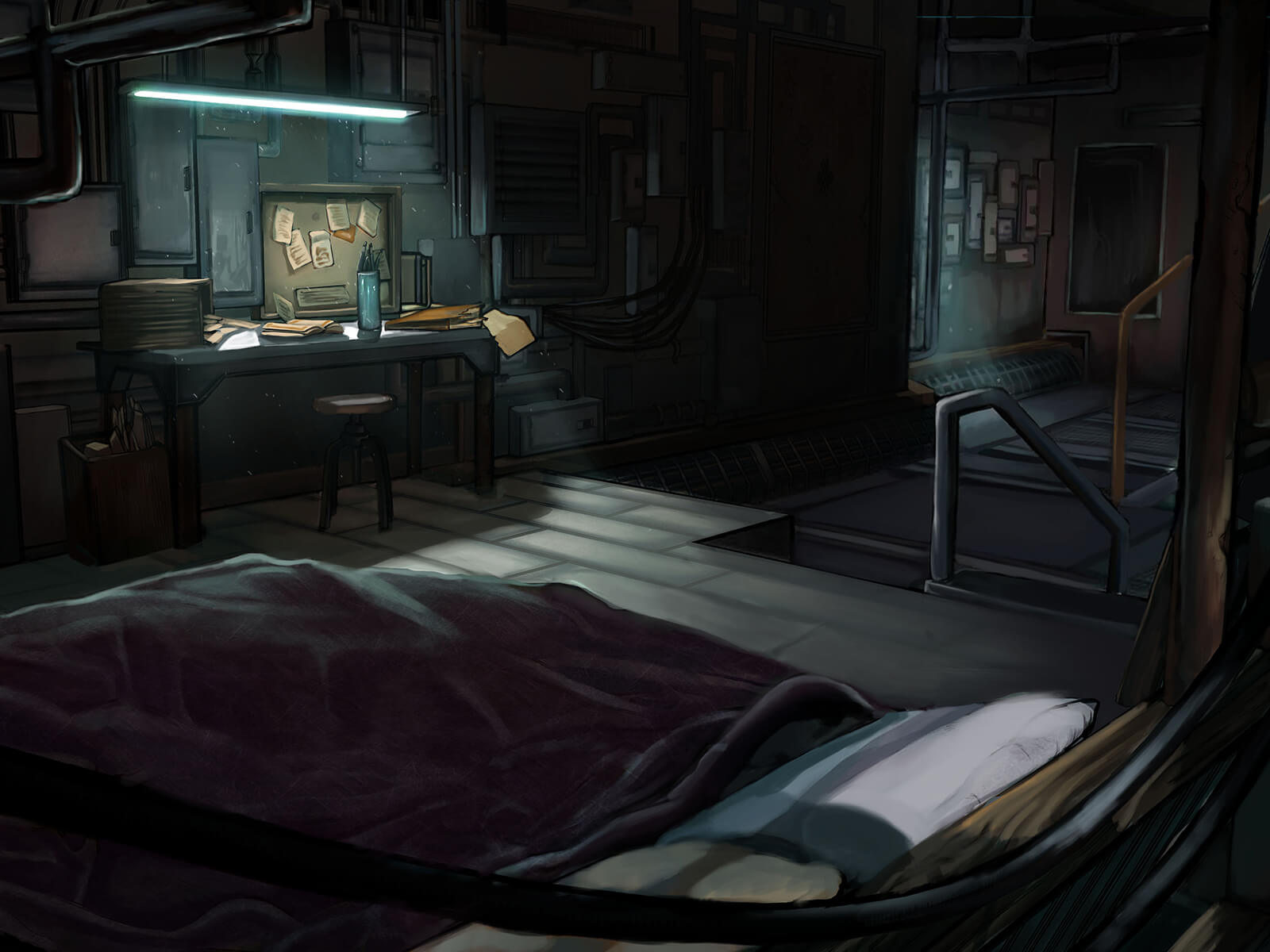 digital painting of a bed and desk in a dark, industrial-type setting