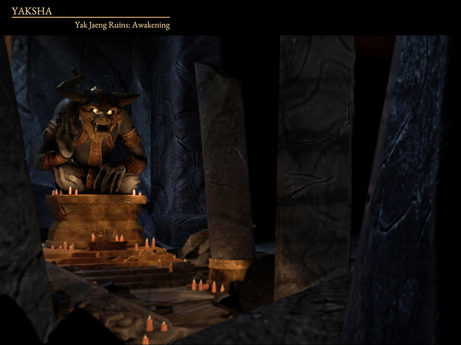 computer-generated 3D model of a creature with glowing eyes atop a pedestal in a cave strewn with lit candles