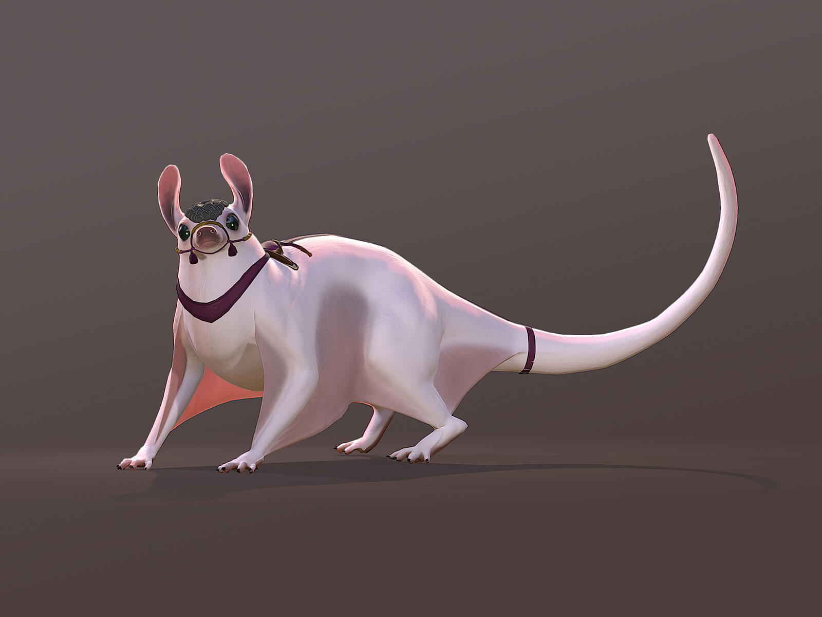 computer-generated 3D model of a character that resembles a rat, with webbed legs