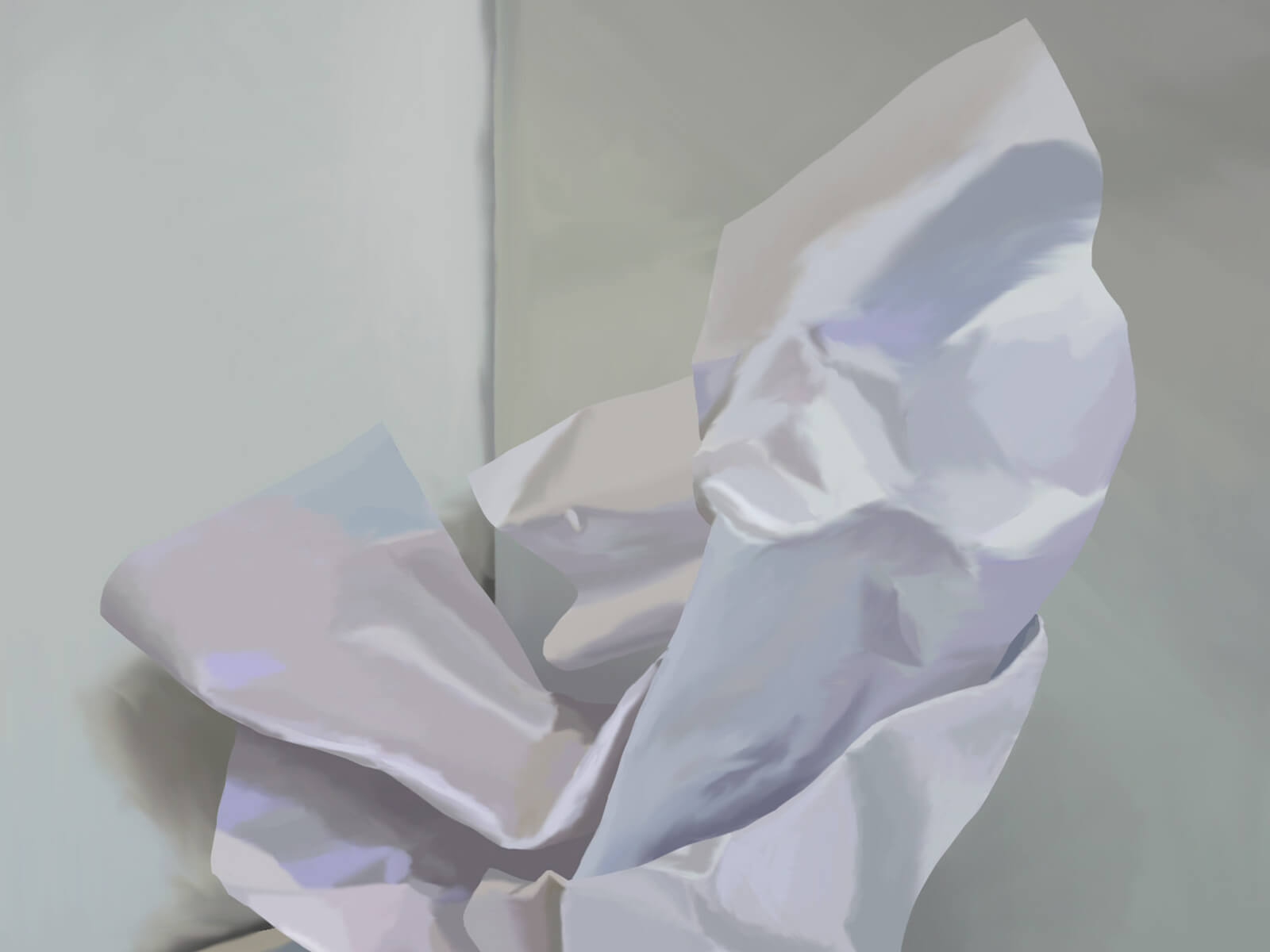 still-life traditional painting of a crumpled piece of white paper