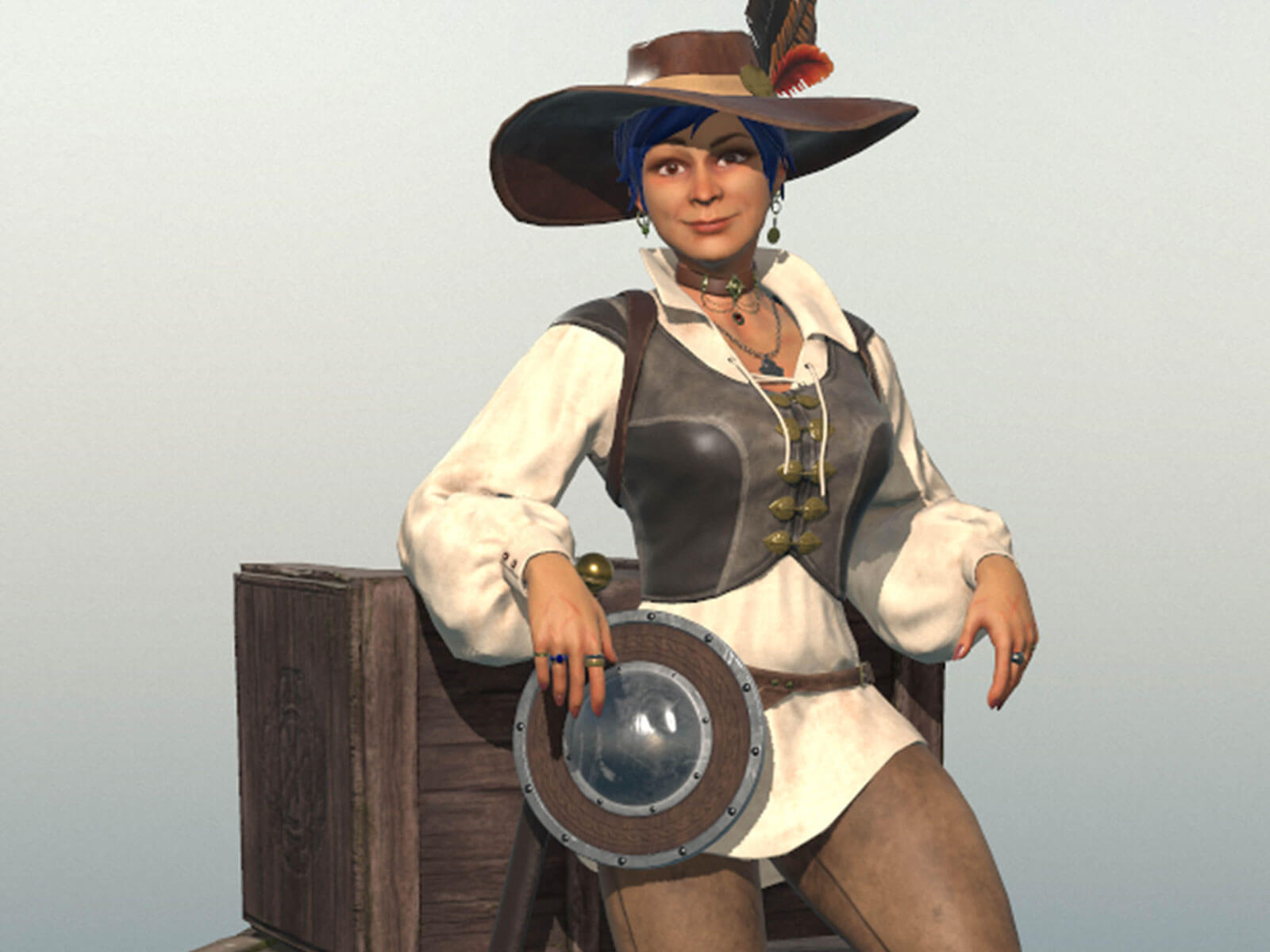 A woman in a plumed hat and cavalier garb leans against wooden crates with a buckler and saber at her hip.
