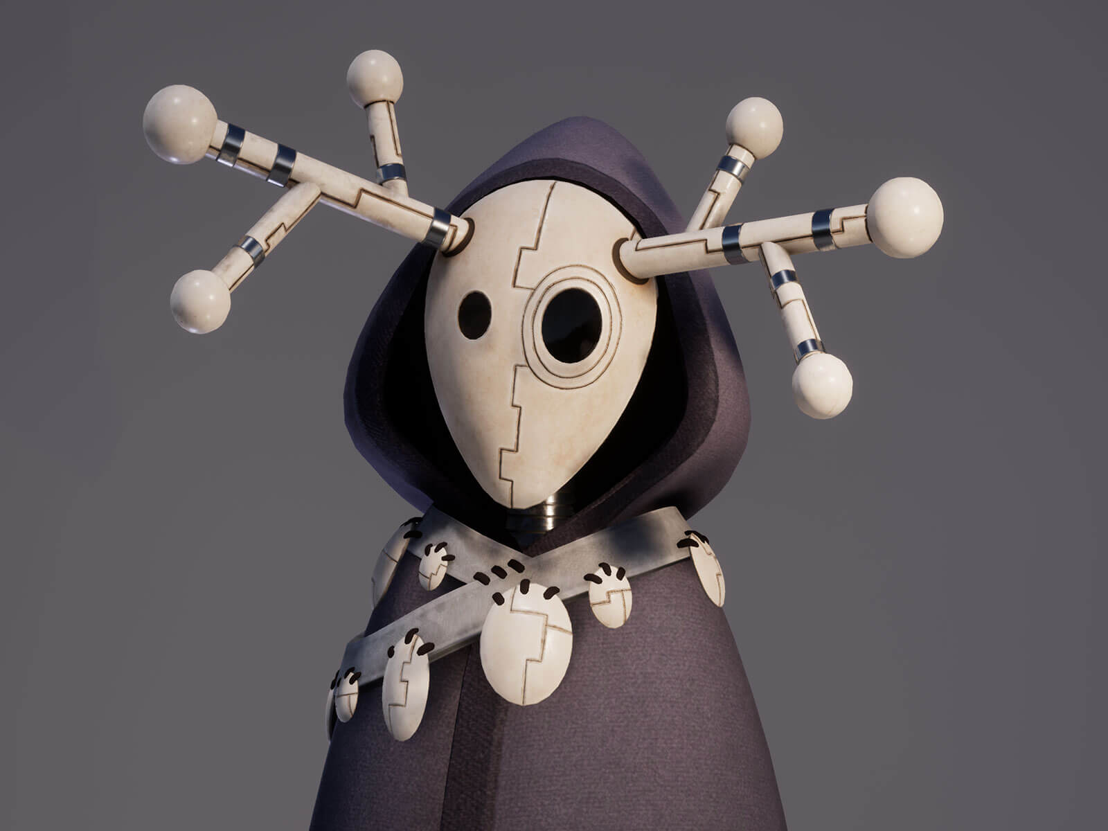 An android with a white, antlered mask and conical legs stands in a hooded, arcuate, charcoal-colored robe.