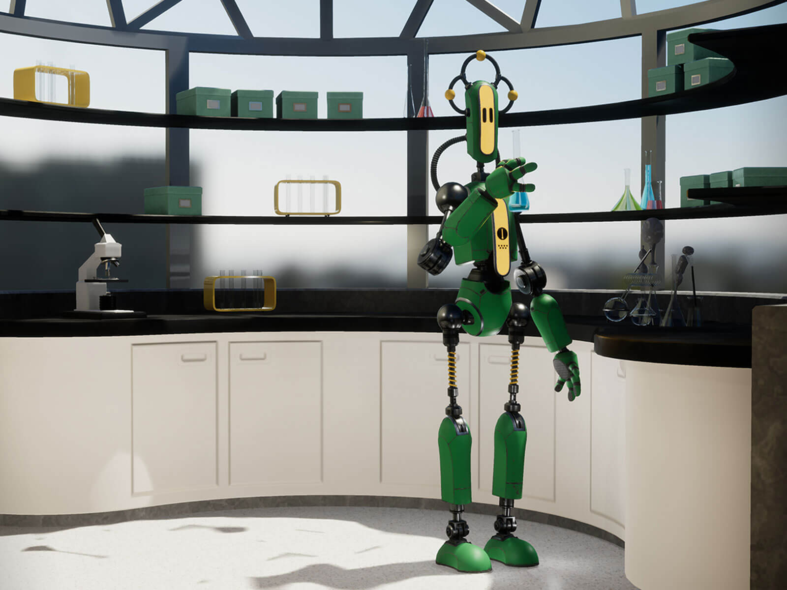 A slender, green robot with exposed, black, metal joints stands near a counter surrounded by scientific equipment.