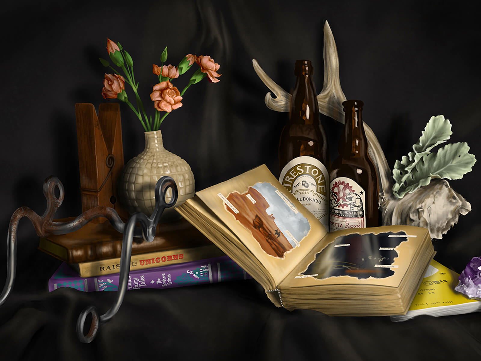 still-life traditional painting of objects including books, bottles, a vase with flowers, an antler, and a large clothespin
