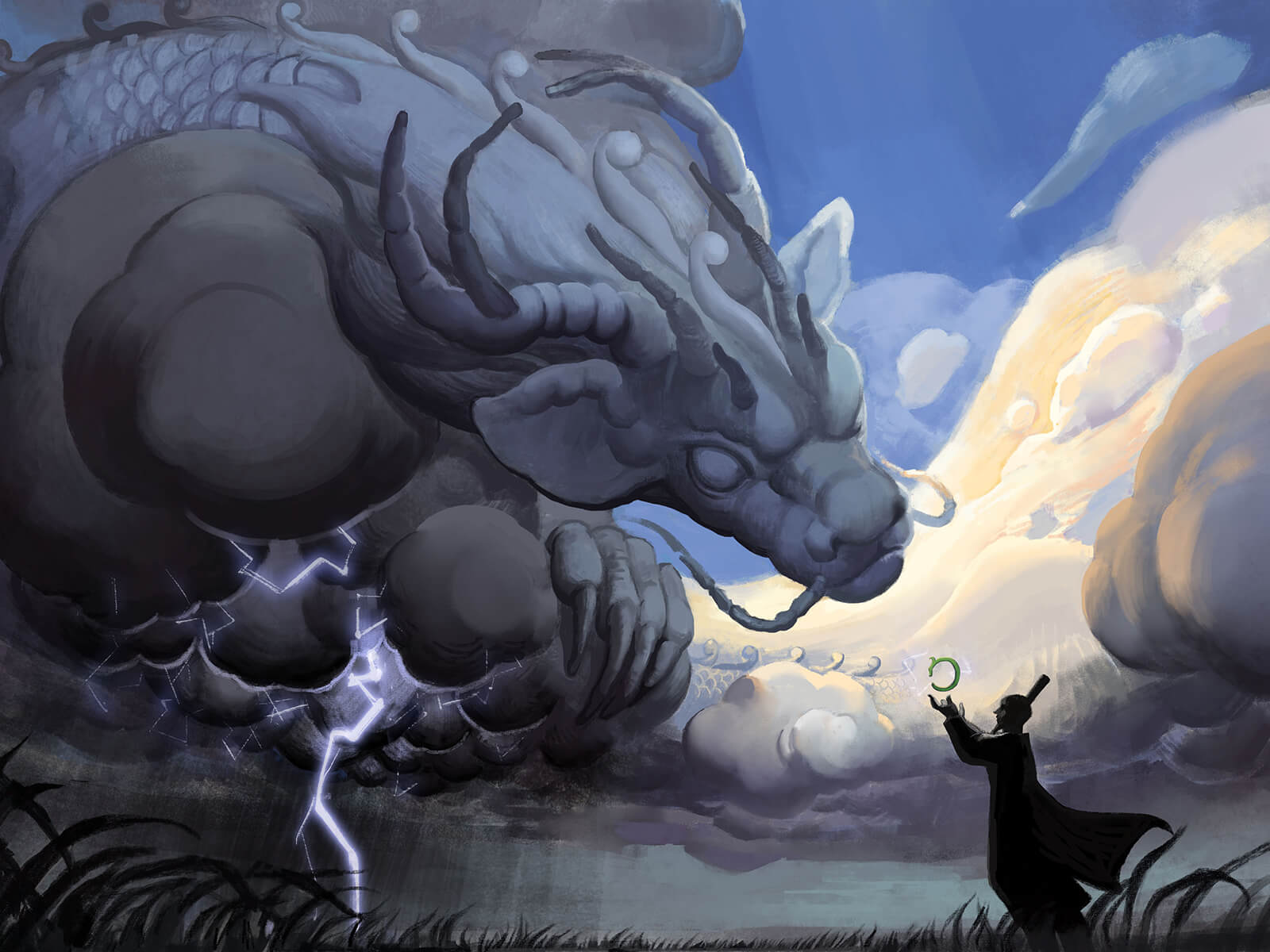 digital painting of an asian man confronting an enormous dragon made of clouds and generating lightning