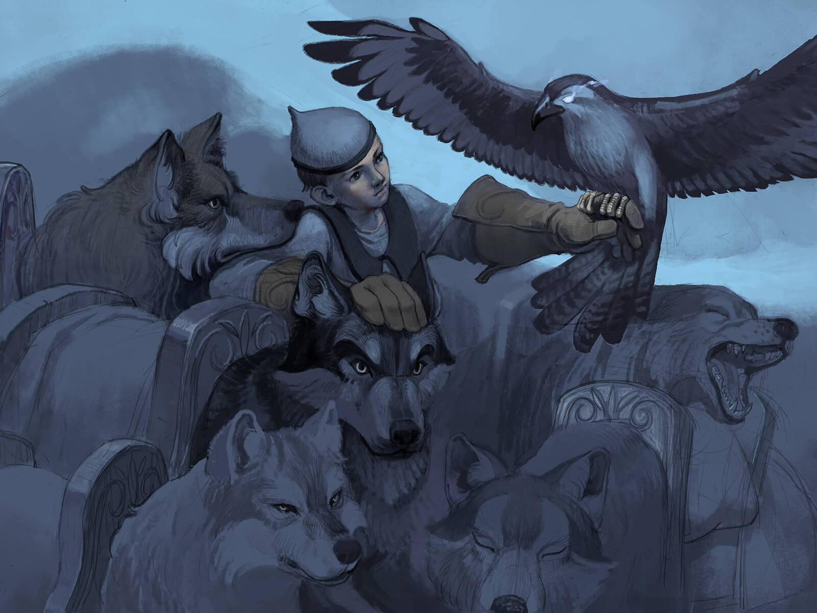 digital painting of a boy holding a falcon, standing among 5 wolves