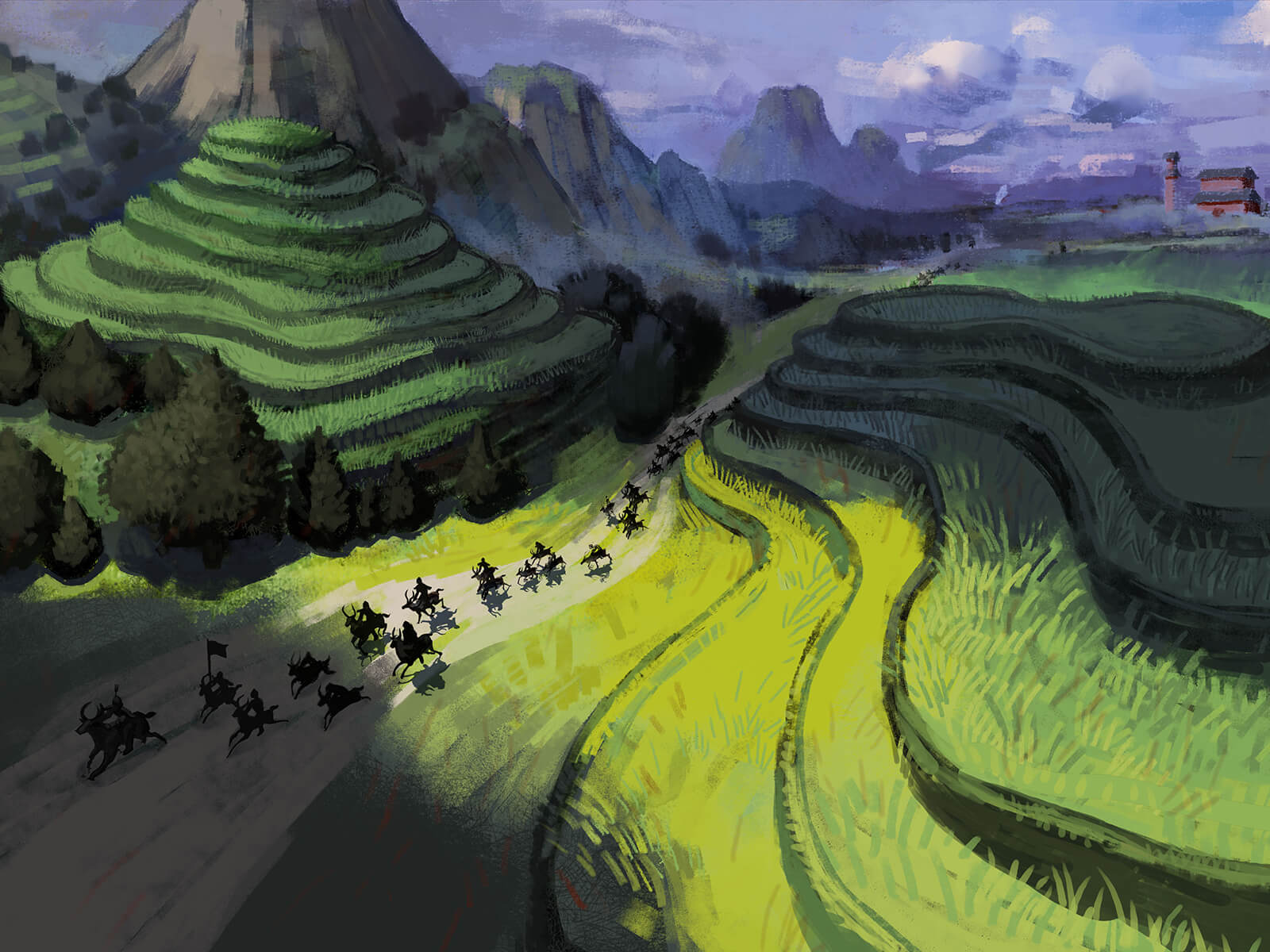 digital painting of people on horses against a backdrop of blue sky and terraced fields