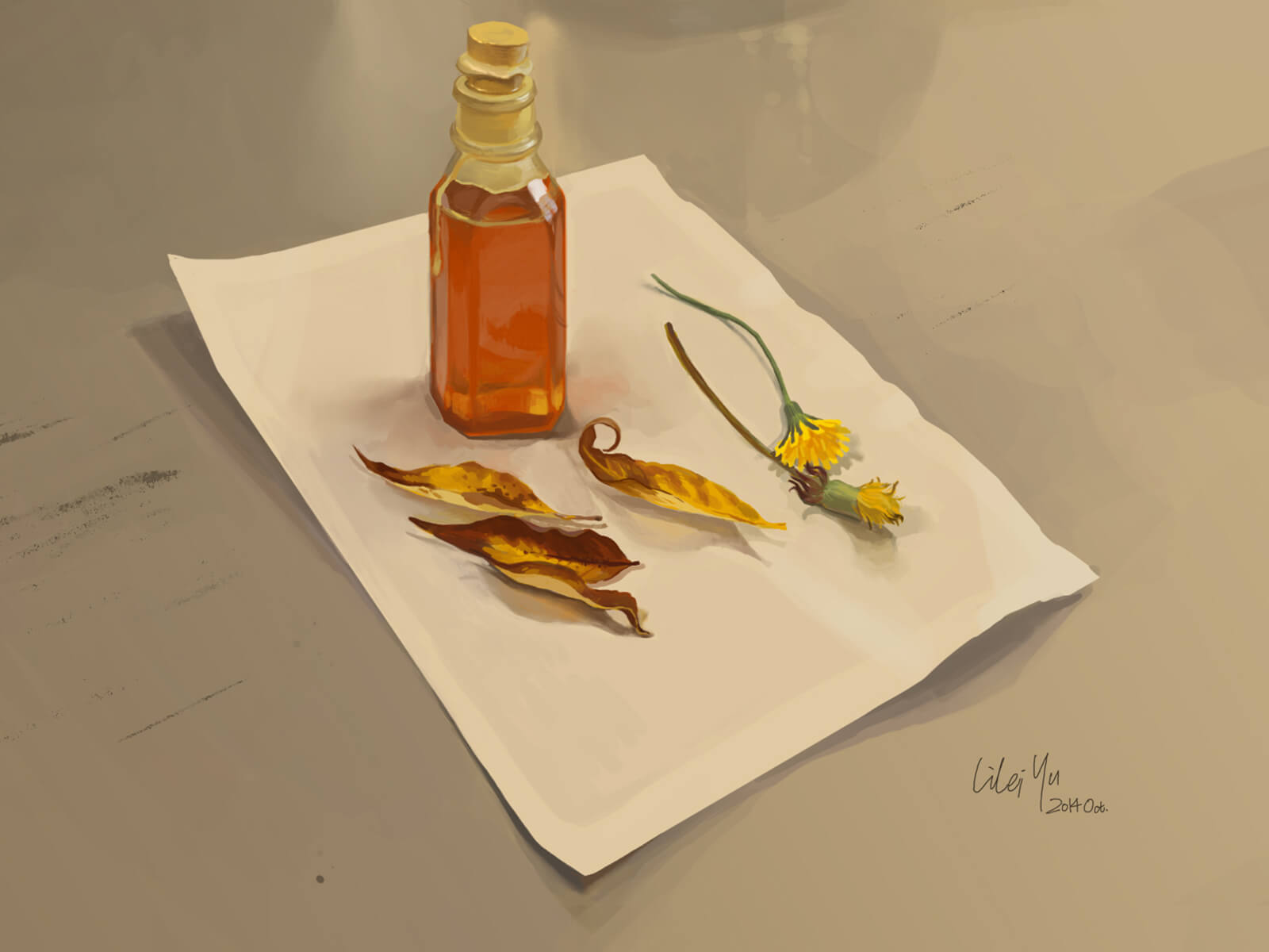 still-life traditional painting of a cork-stoppered bottle with dandelions and leaves on a white piece of paper