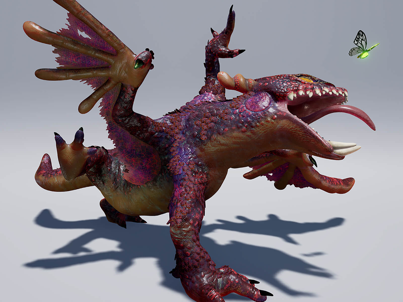 computer-generated 3D model of a winged lizard about to catch a butterfly with its tongue