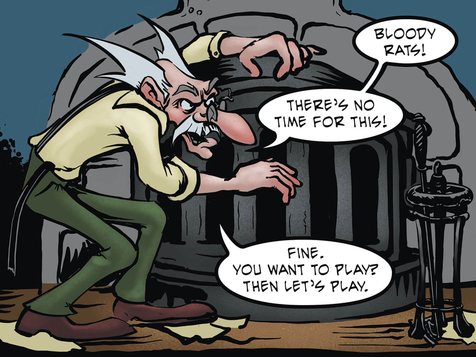 Comic book panels of an old man chasing a rat