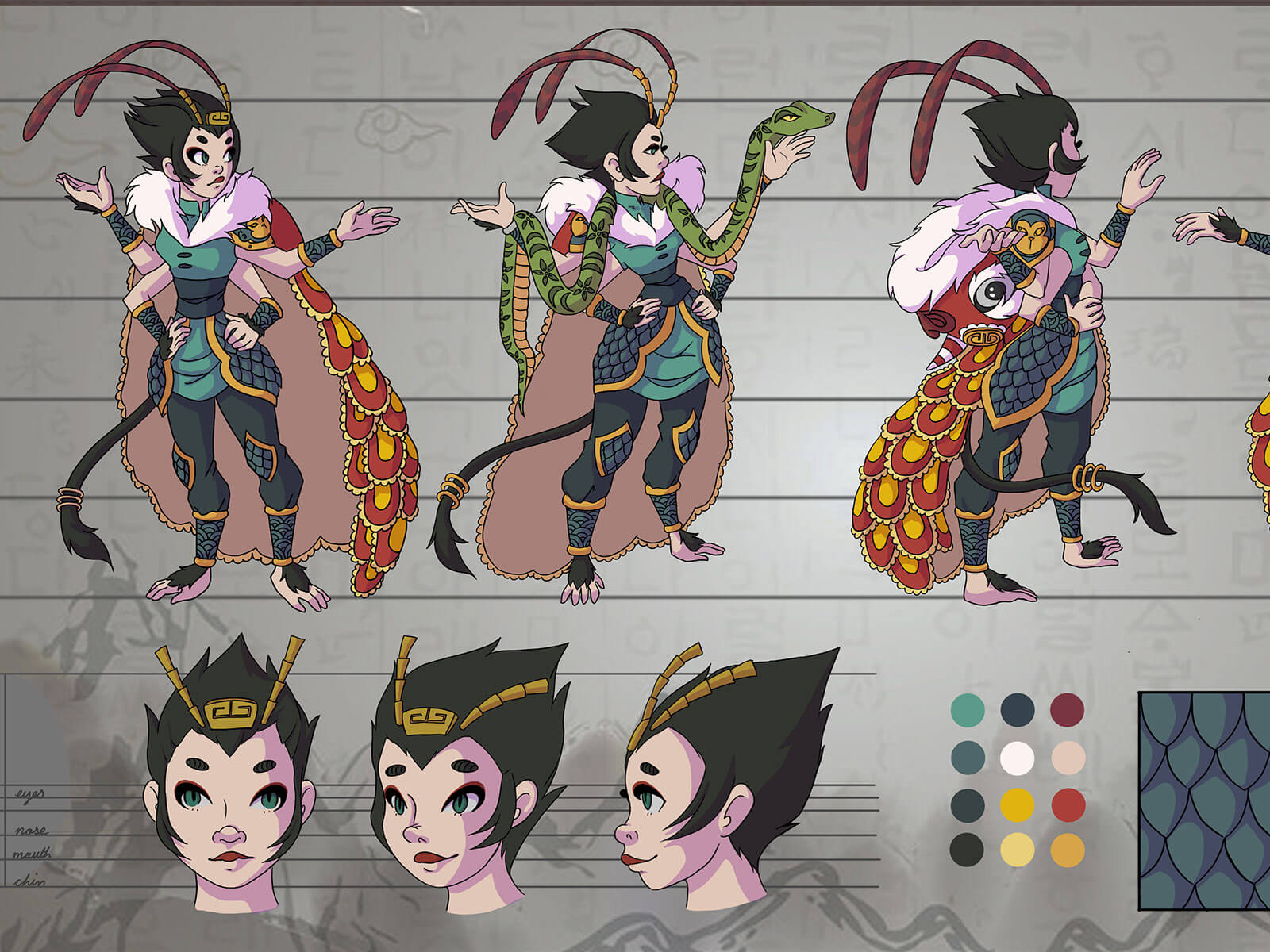 Turnaround views of a four-armed, tailed woman with antennas in warrior garb wearing a lion-dance inspired cape.