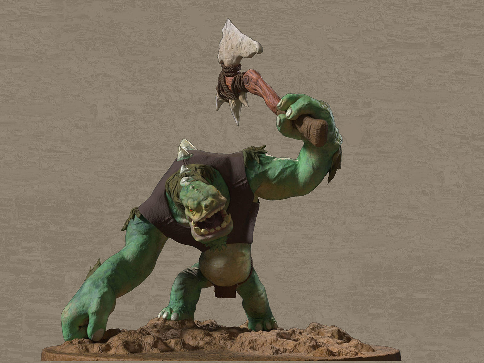 A green troll-like creature wearing a brown tunic raises a crude, wood and stone ax above its head.