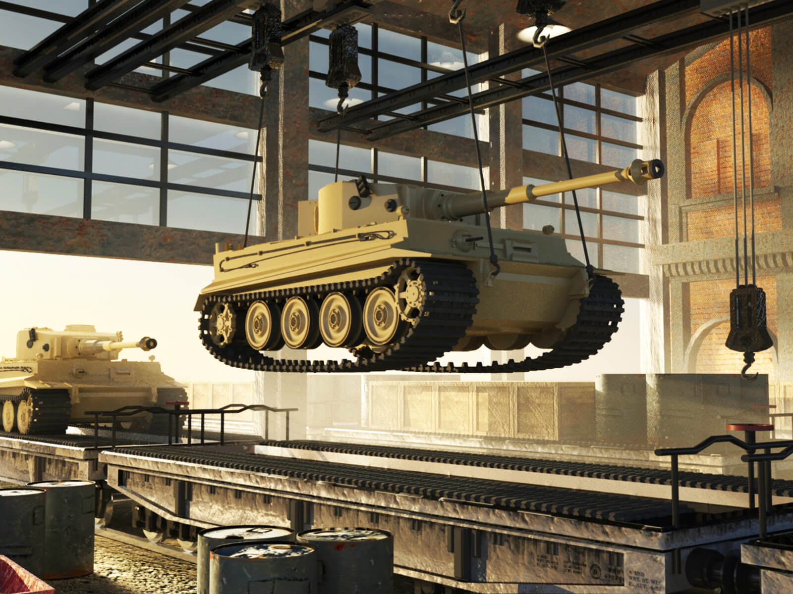 computer-generated 3d model of a tank suspended above a track in a warehouse-type building