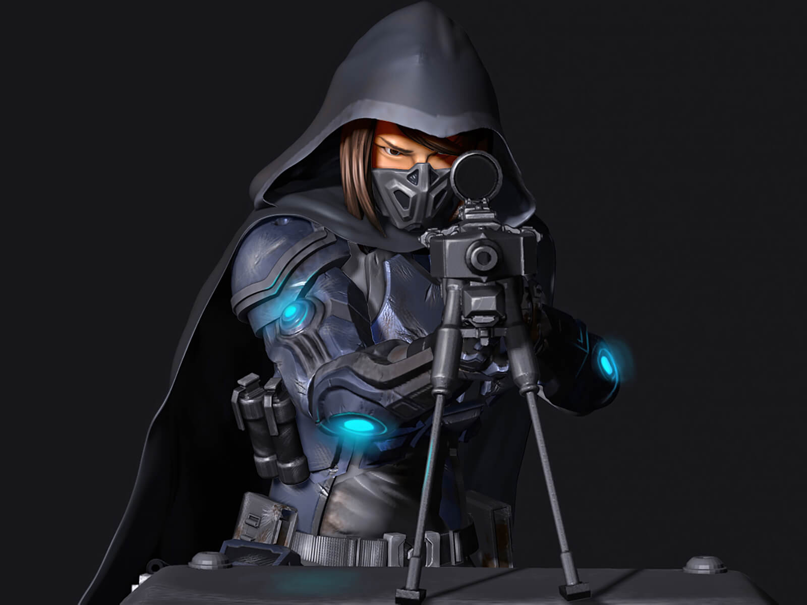 computer-generated 3D model of a sniper character taking aim at the viewer