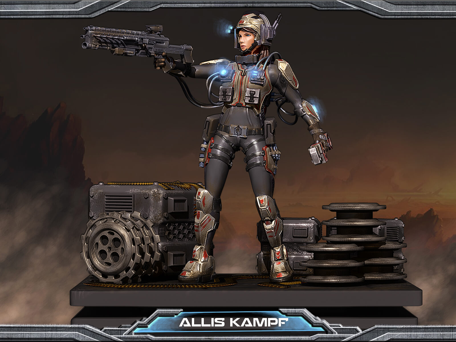 computer-generated 3D model of a character named allis kampf in an armored suit carrying a large gun