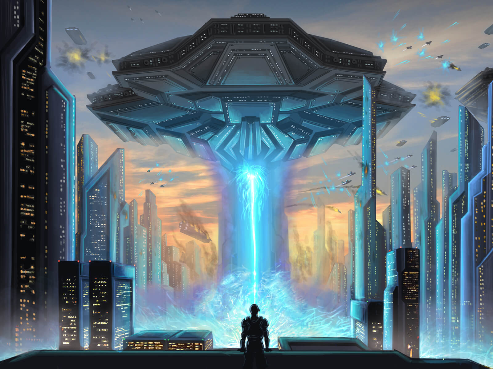 digital painting of an alien airship raining blue fire upon a city while a solitary person watches from a roof top