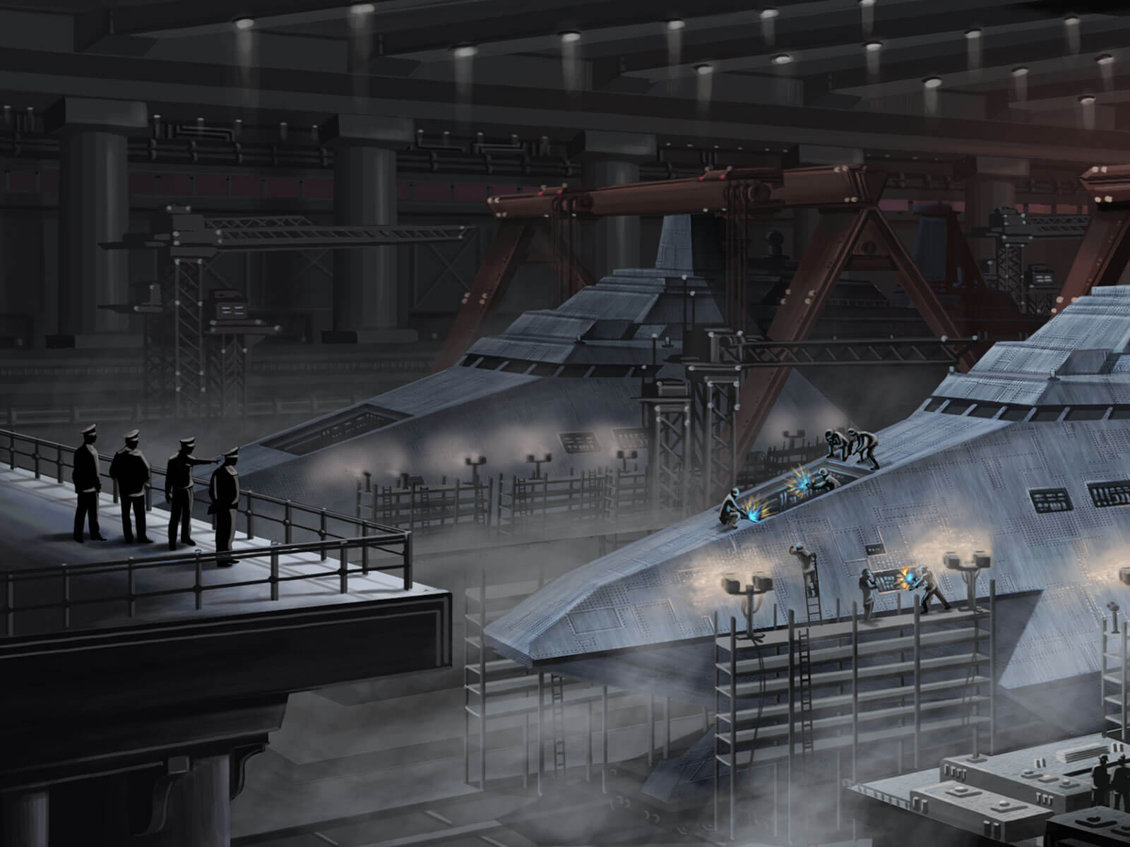 Futuristic destroyers in dry dock