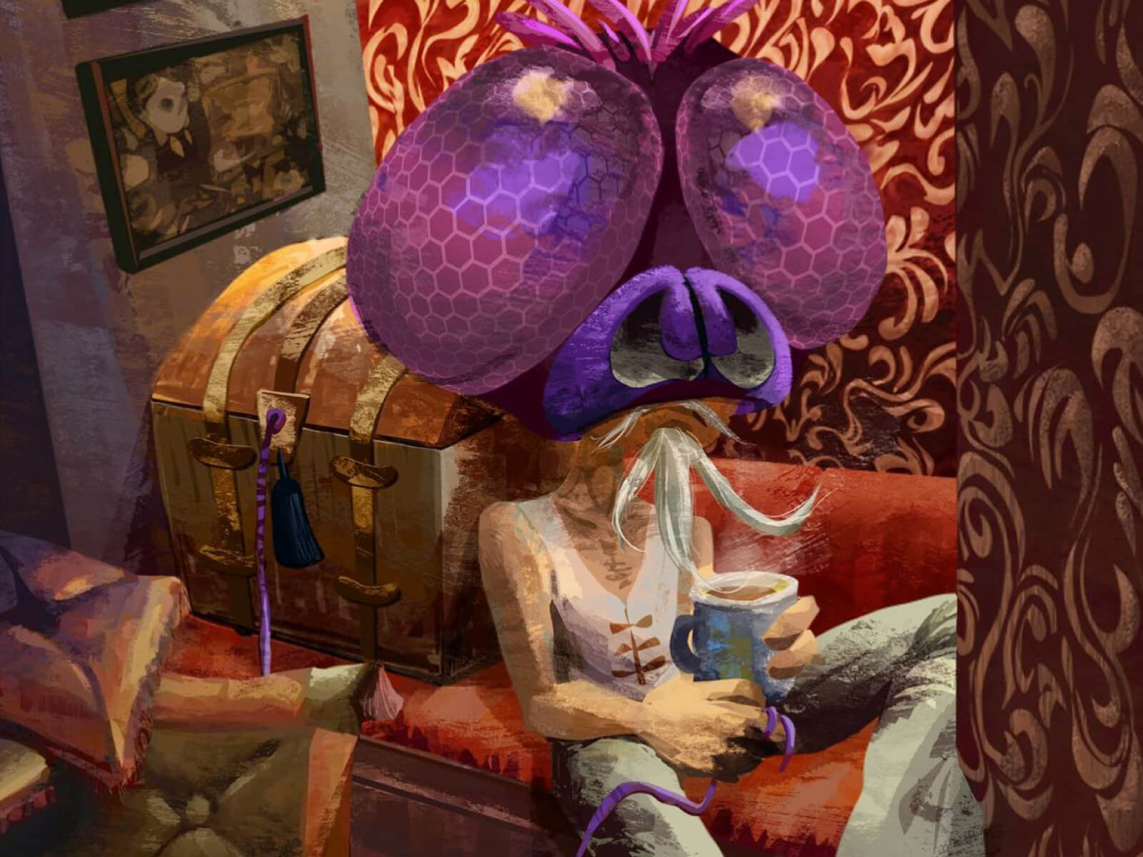 digital painting of a wizened old man with a large mosquito headpiece sitting on a couch with a steaming mug of coffee