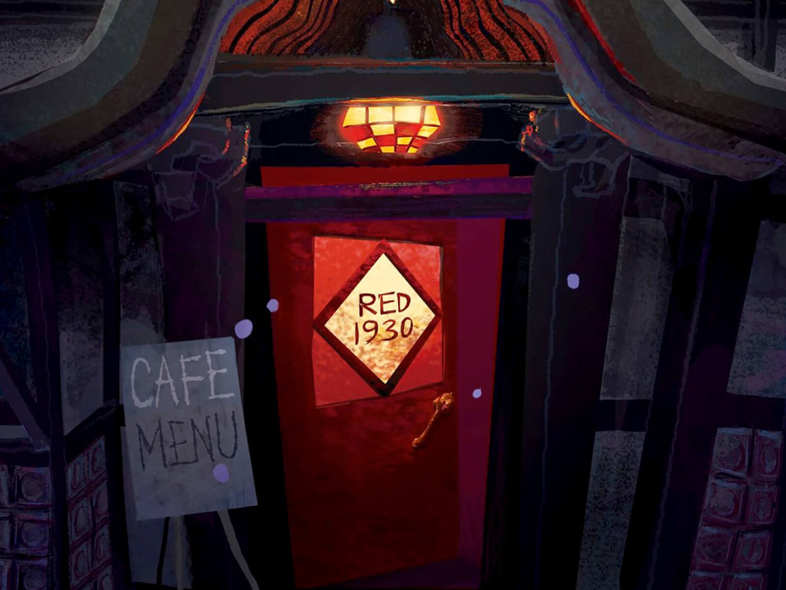 digital painting of the red 1930 cafe door and menu at night