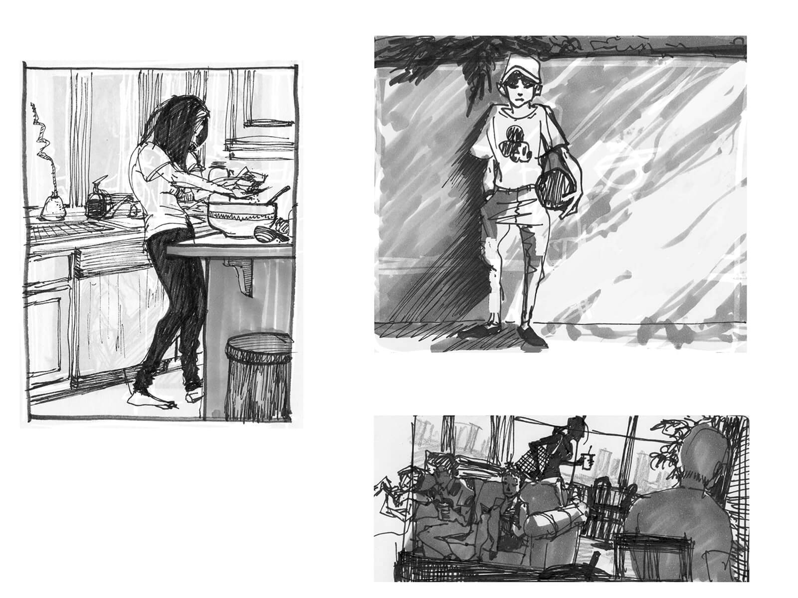 black and white drawings of a woman cooking, a boy in a mickey mouse t-shirt holding a ball, and a cafe scene