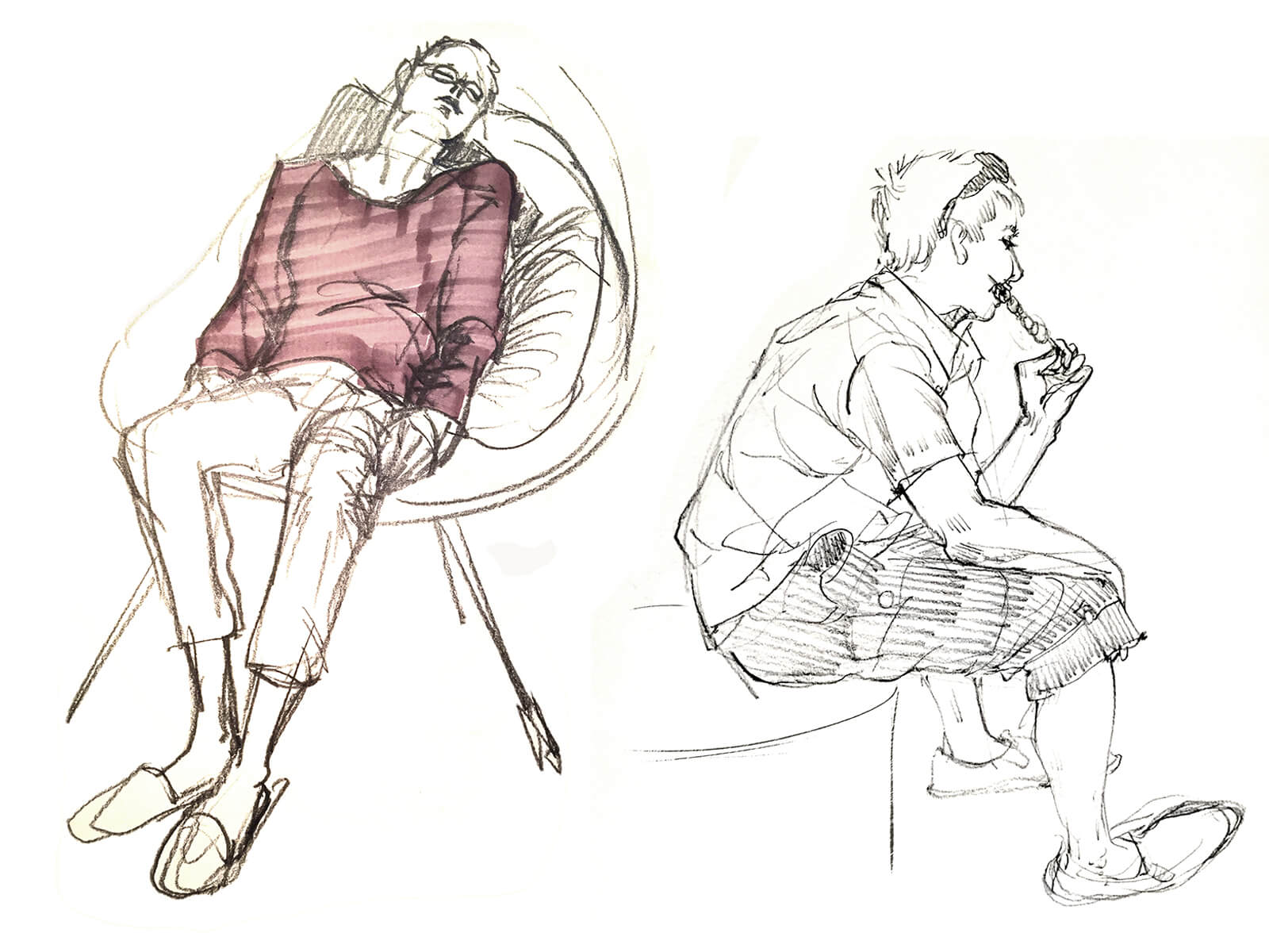 drawings of a woman sleeping in a chair and a man sitting on a curb eating satay