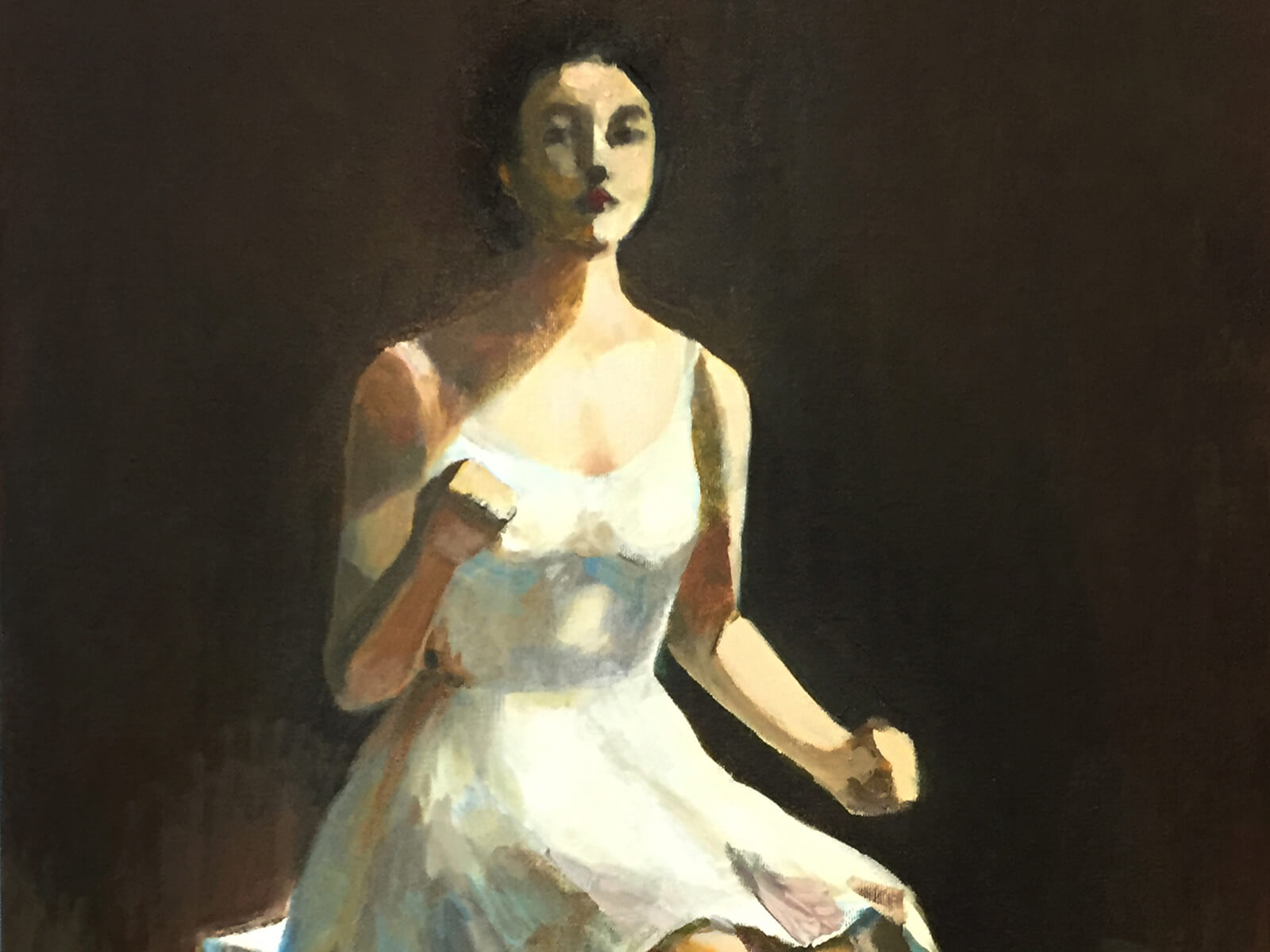 traditional painting of a dark-haired woman in a long white dress sitting on a box