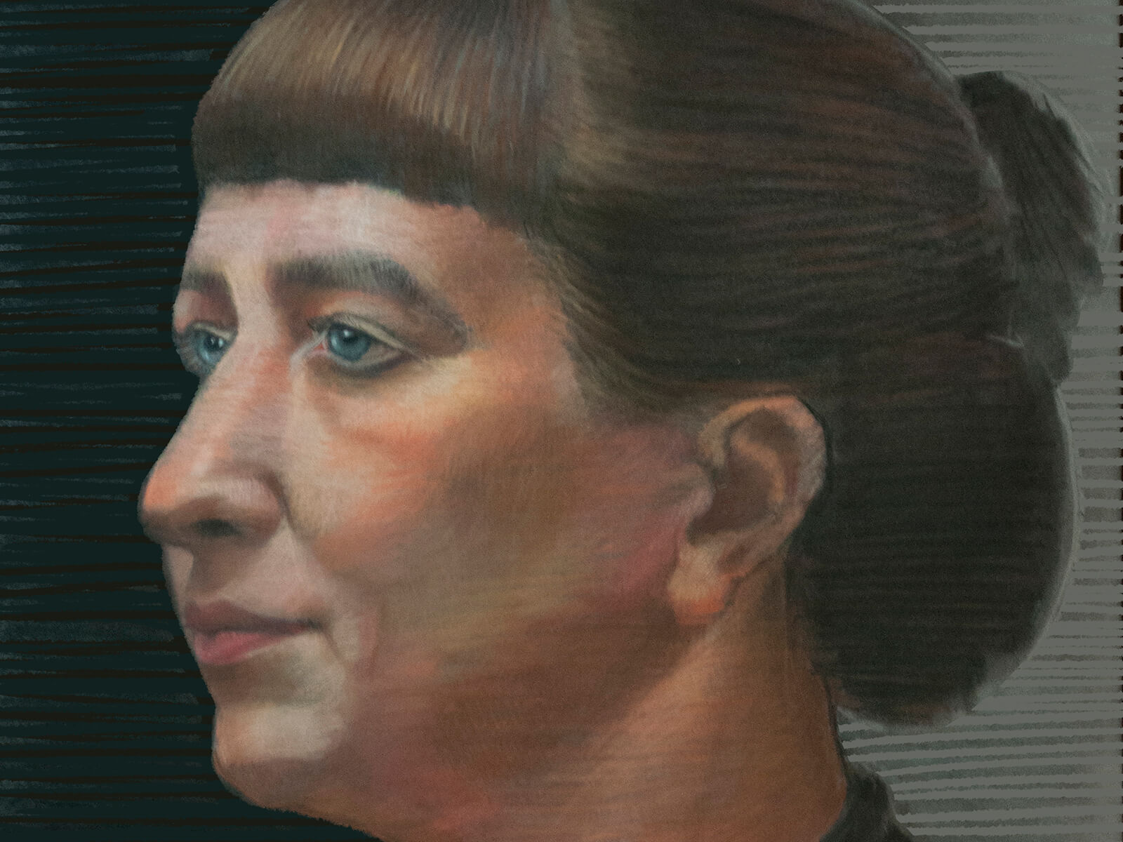 traditional painting portrait of a woman in partial profile with her hair in a bun