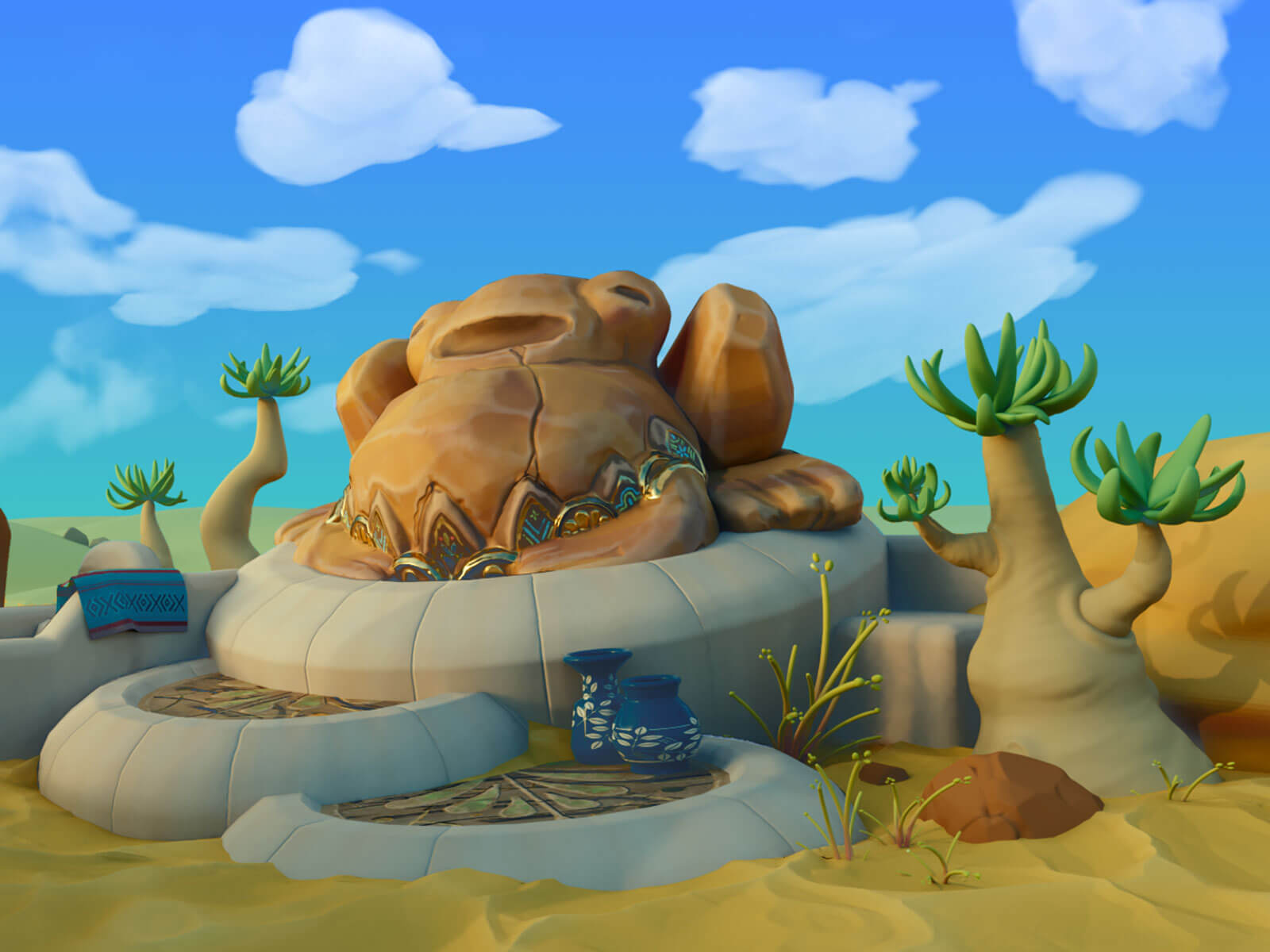 A stout, stone sculpture of a toad inlaid with jade and gold sits atop a stone pedestal in a desert under blue a sky.