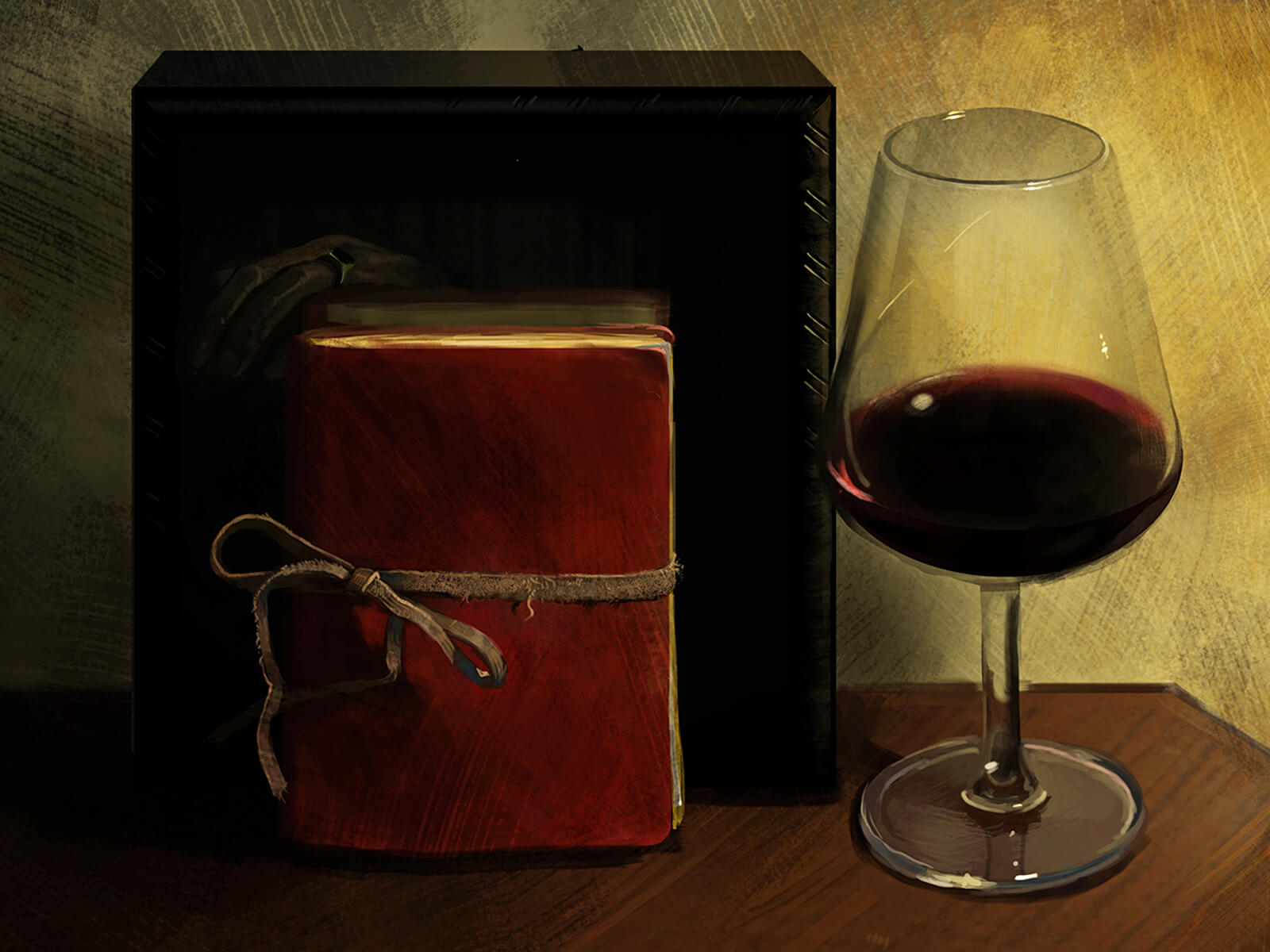still-life traditional painting of a red book tied closed with a ribbon and a glass of wine