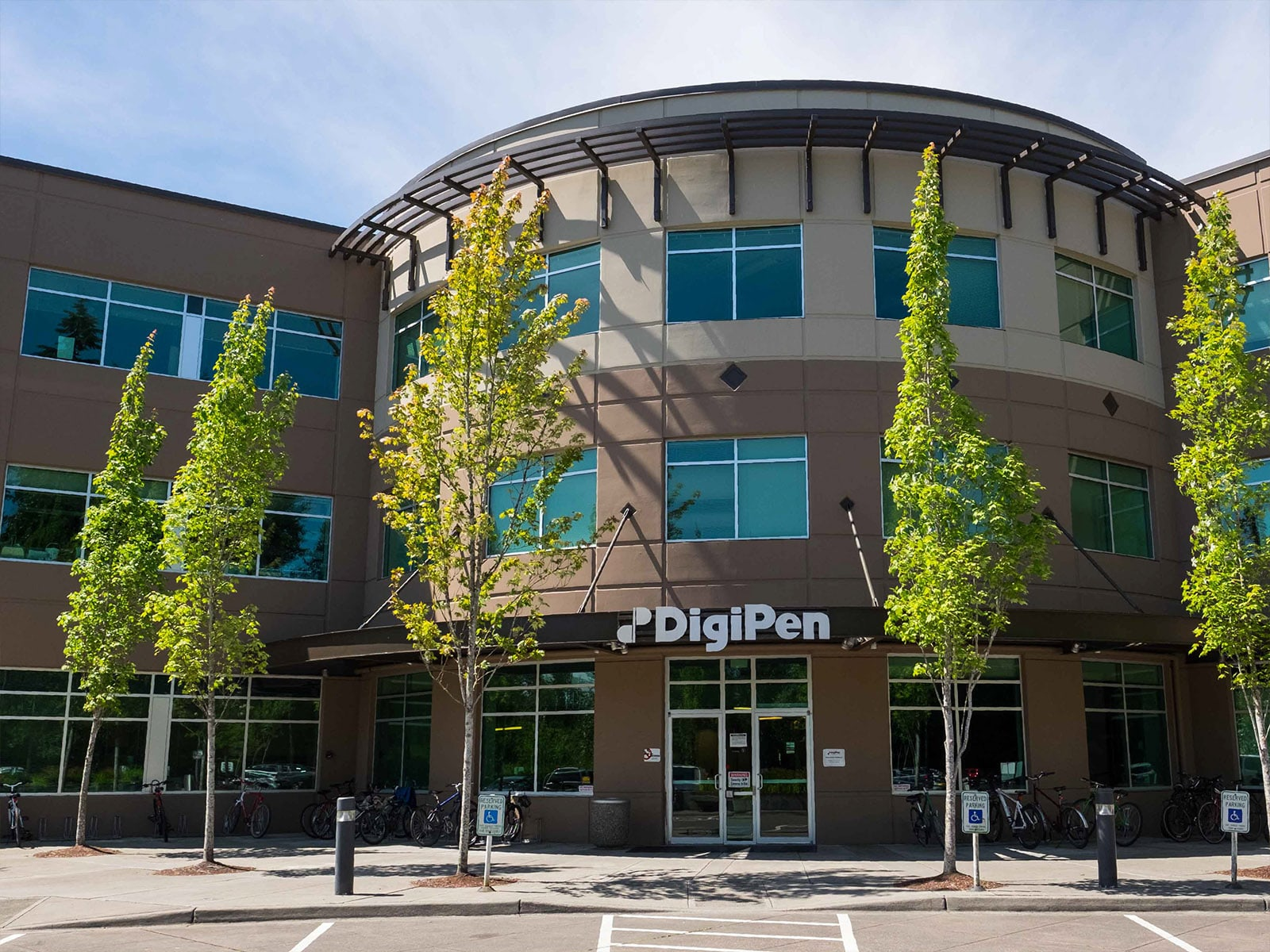 Photograph of the DigiPen building's main entrance taken at midday