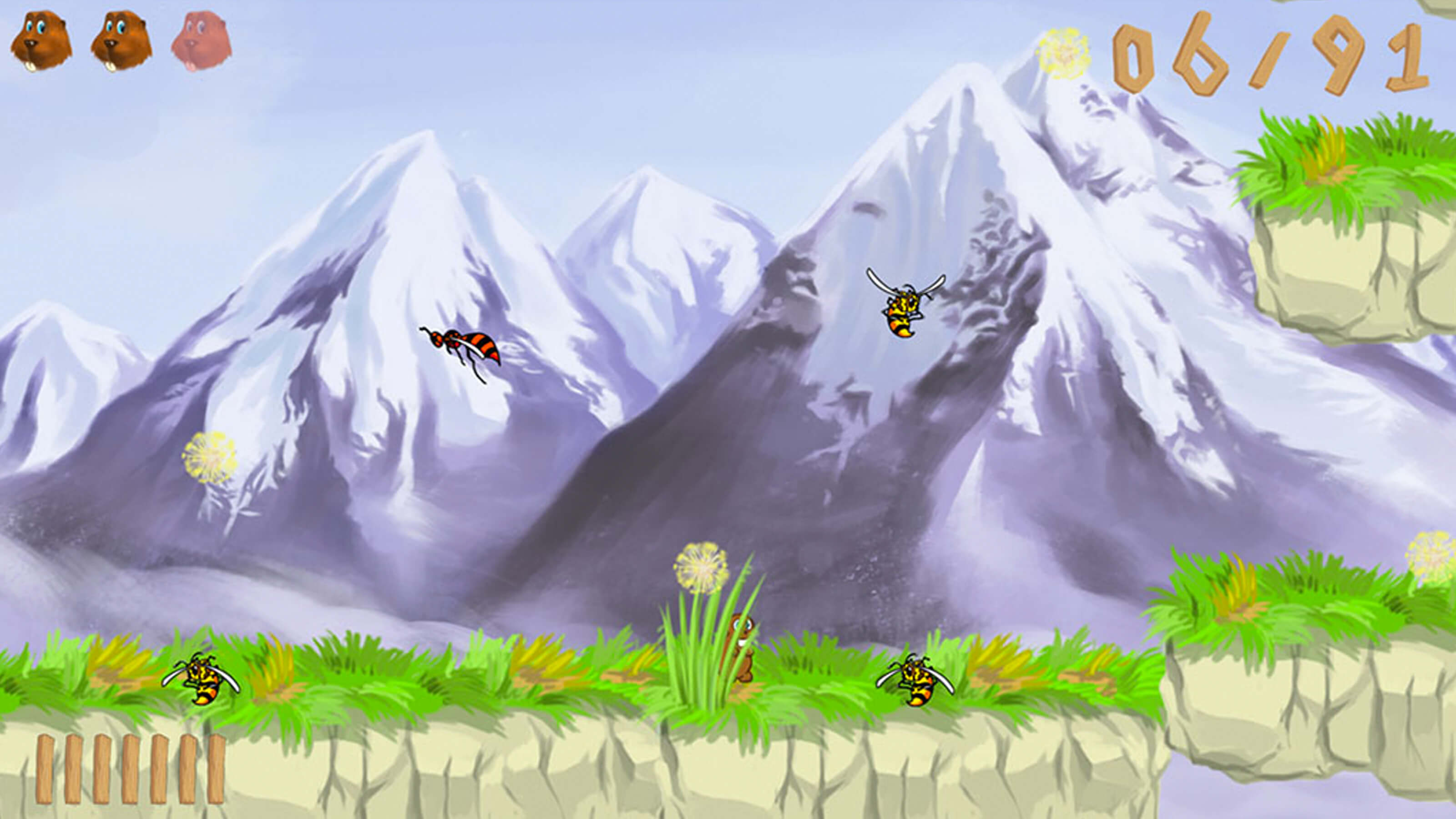 A beaver hides behind a tuft of grass as wasps fly around. Snowy mountain peaks rise in the background.