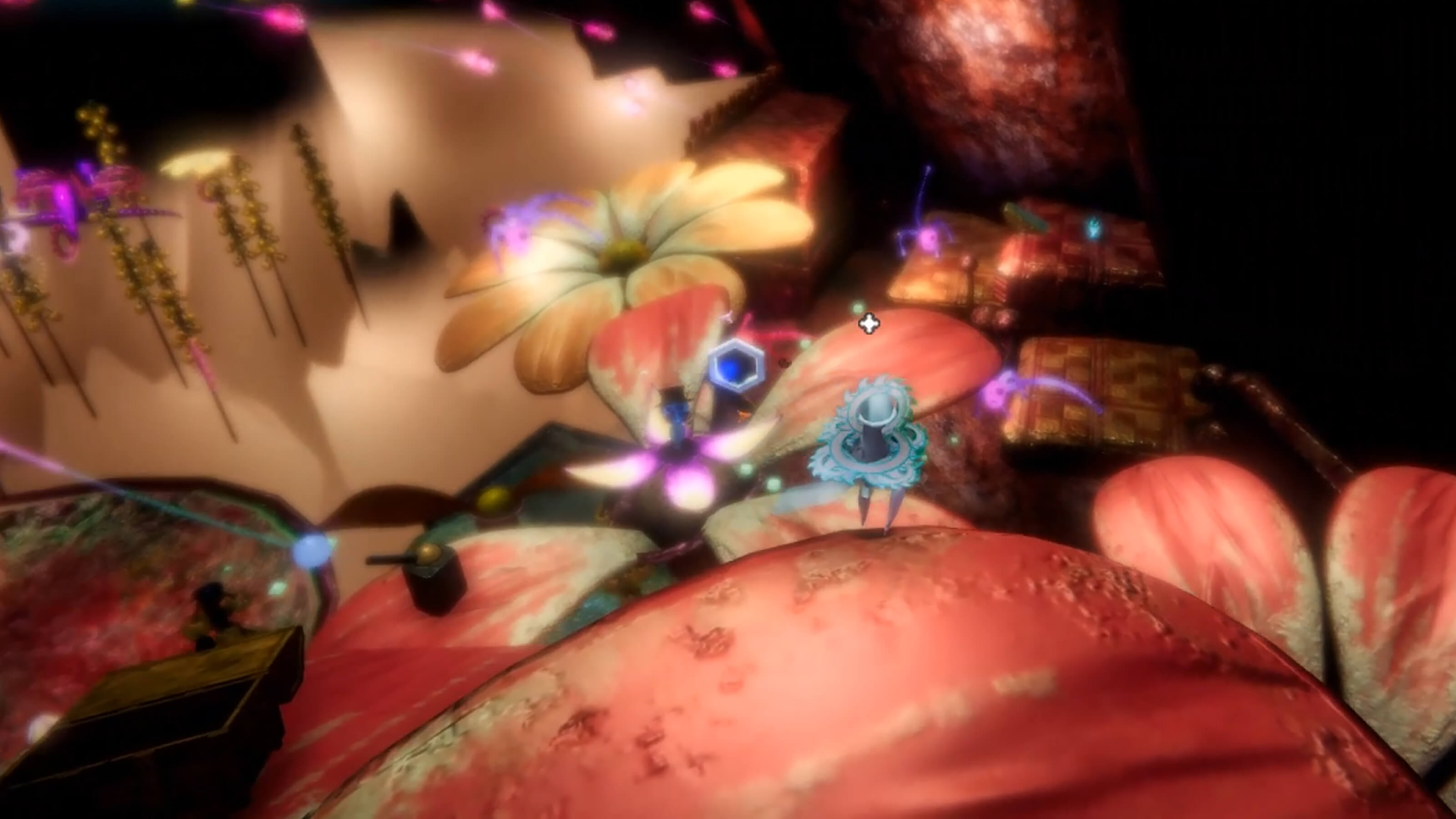 Aftermoor protagonist Diti stands amongst a number of giant floating flower platforms.