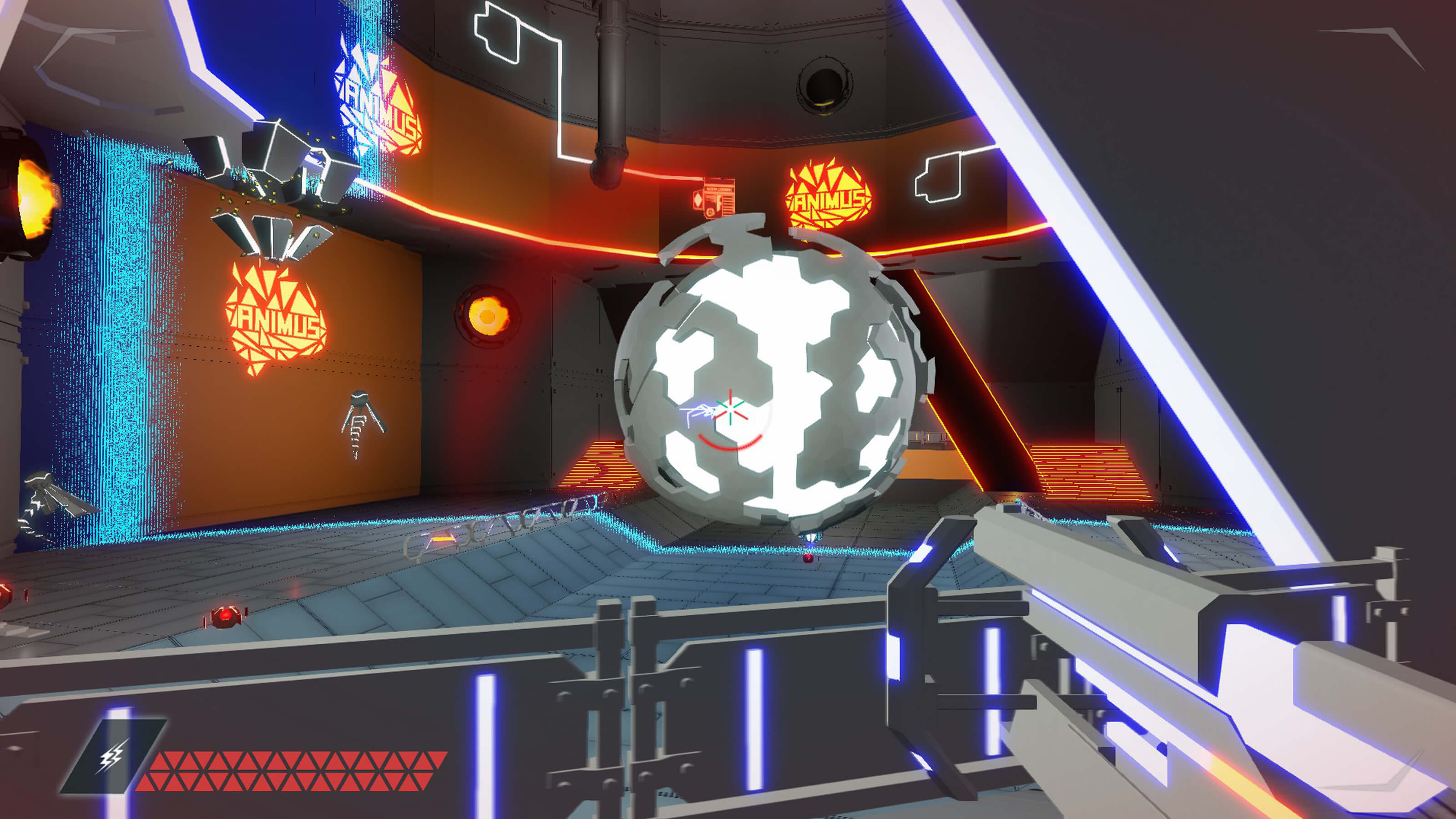 The player aims their gun at Animus Fault's central core, a glowing orb covered by geometric floating armor.